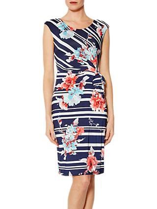 Gina Bacconi Dustina Floral Stripe Dress, Navy/White
