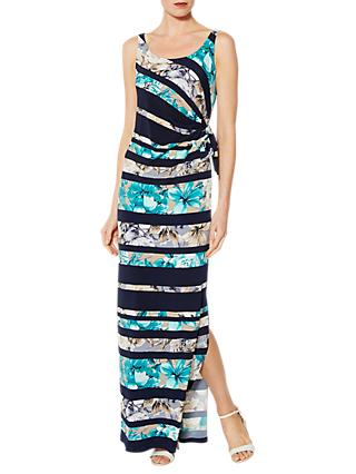 Gina Bacconi Deandra Floral Stripe Maxi Dress, Navy/Turquoise