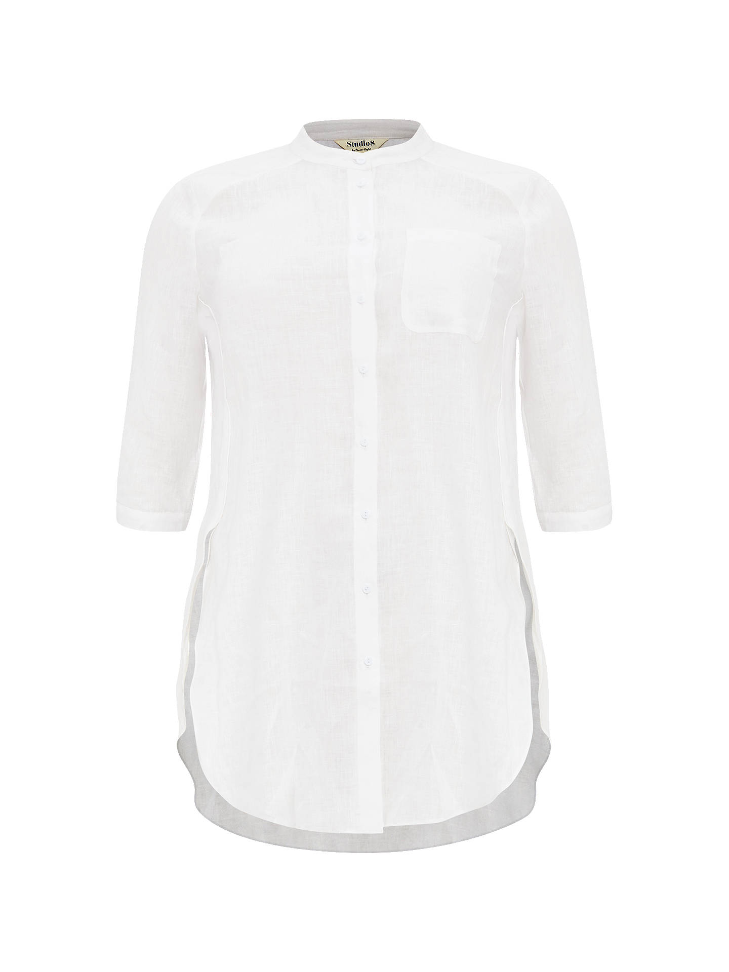 Buy Studio 8 Alison Linen Shirt, White, 16 Online at johnlewis.com