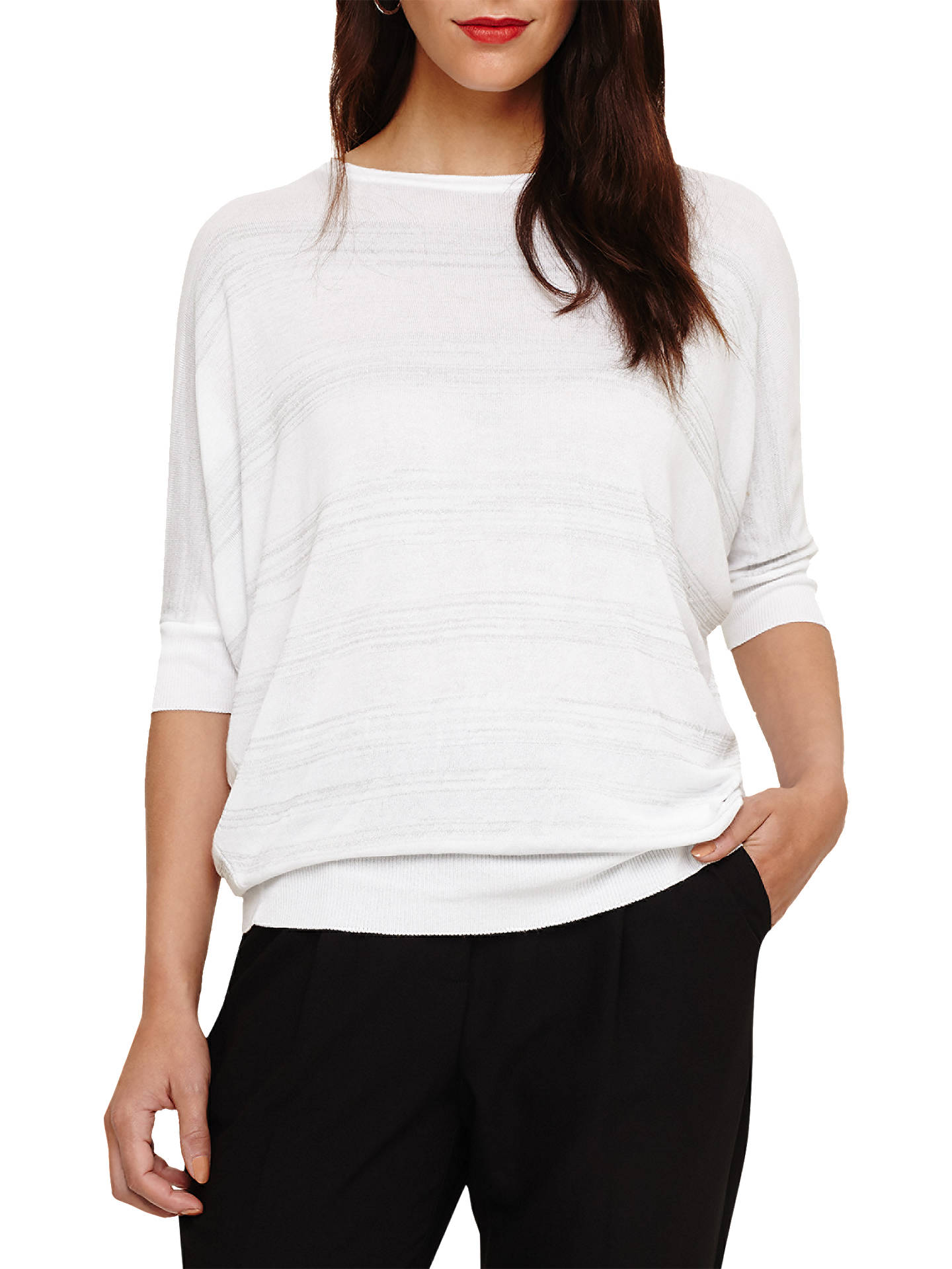 Buy Phase Eight Becca Shimmer Stripe Jumper, White, M Online at johnlewis.com