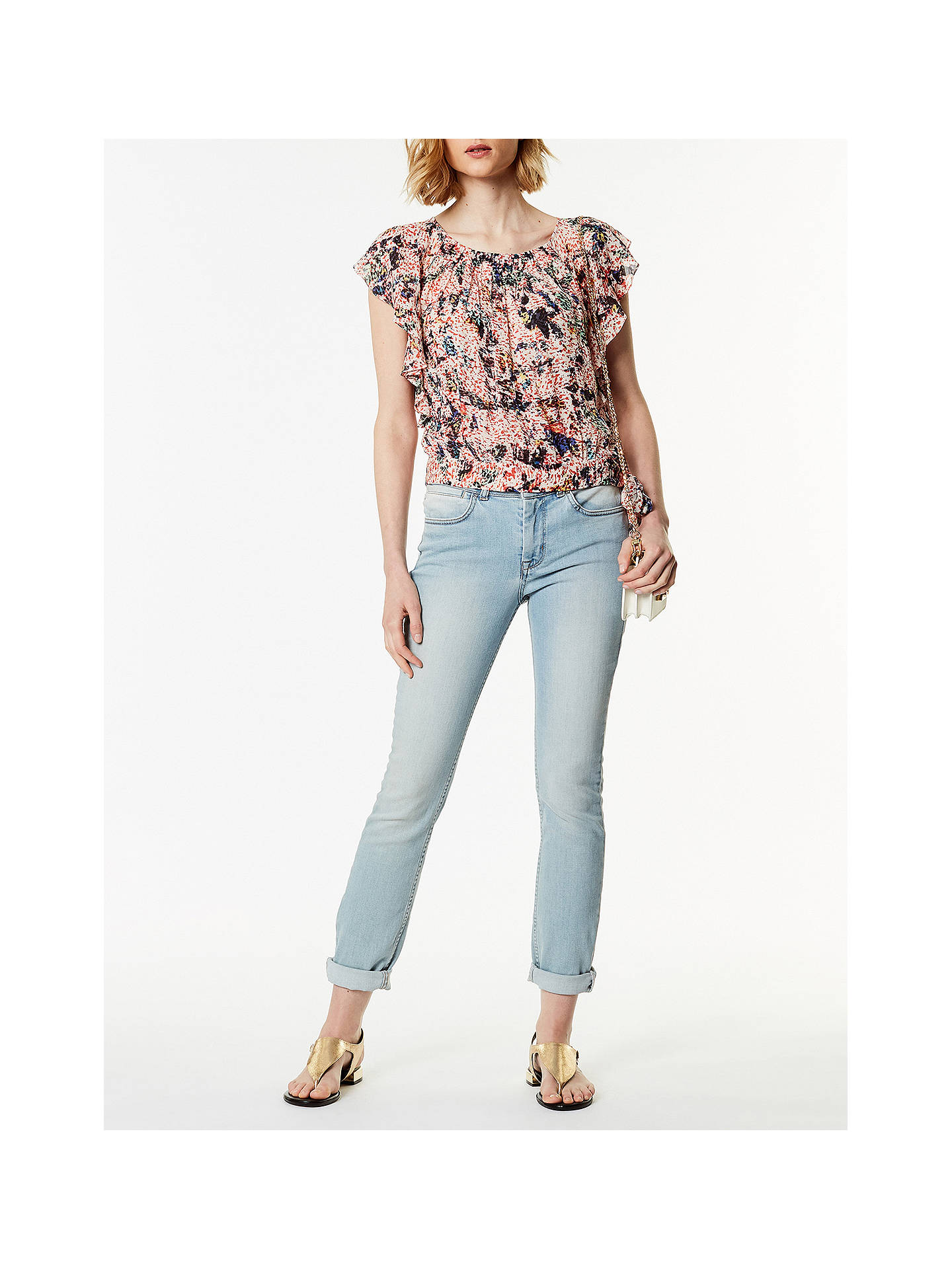 BuyKaren Millen Textured Floral Print Top, Multi, 6 Online at johnlewis.com