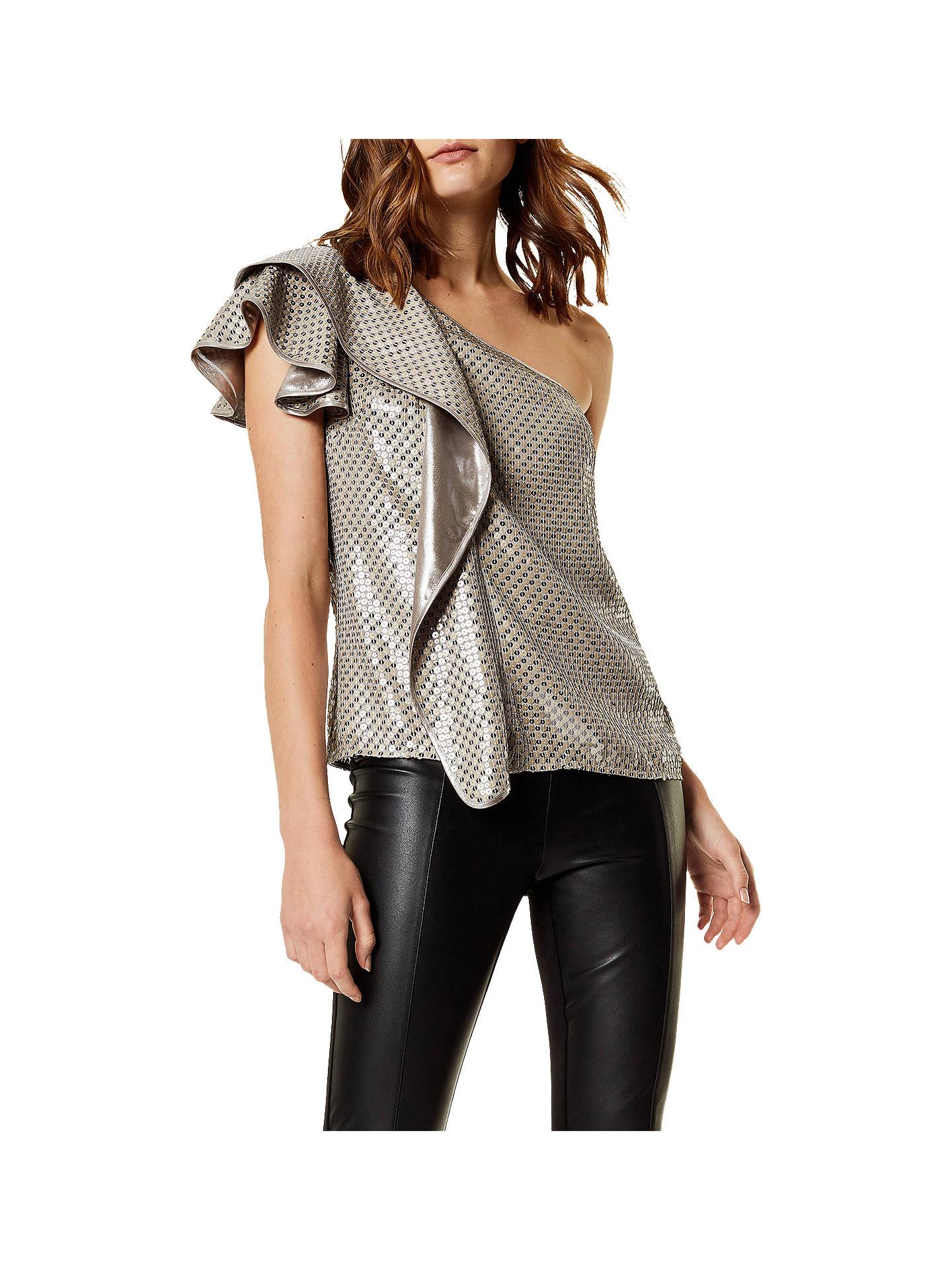348de10cc38ea Buy Karen Millen One Shoulder Sequin Top