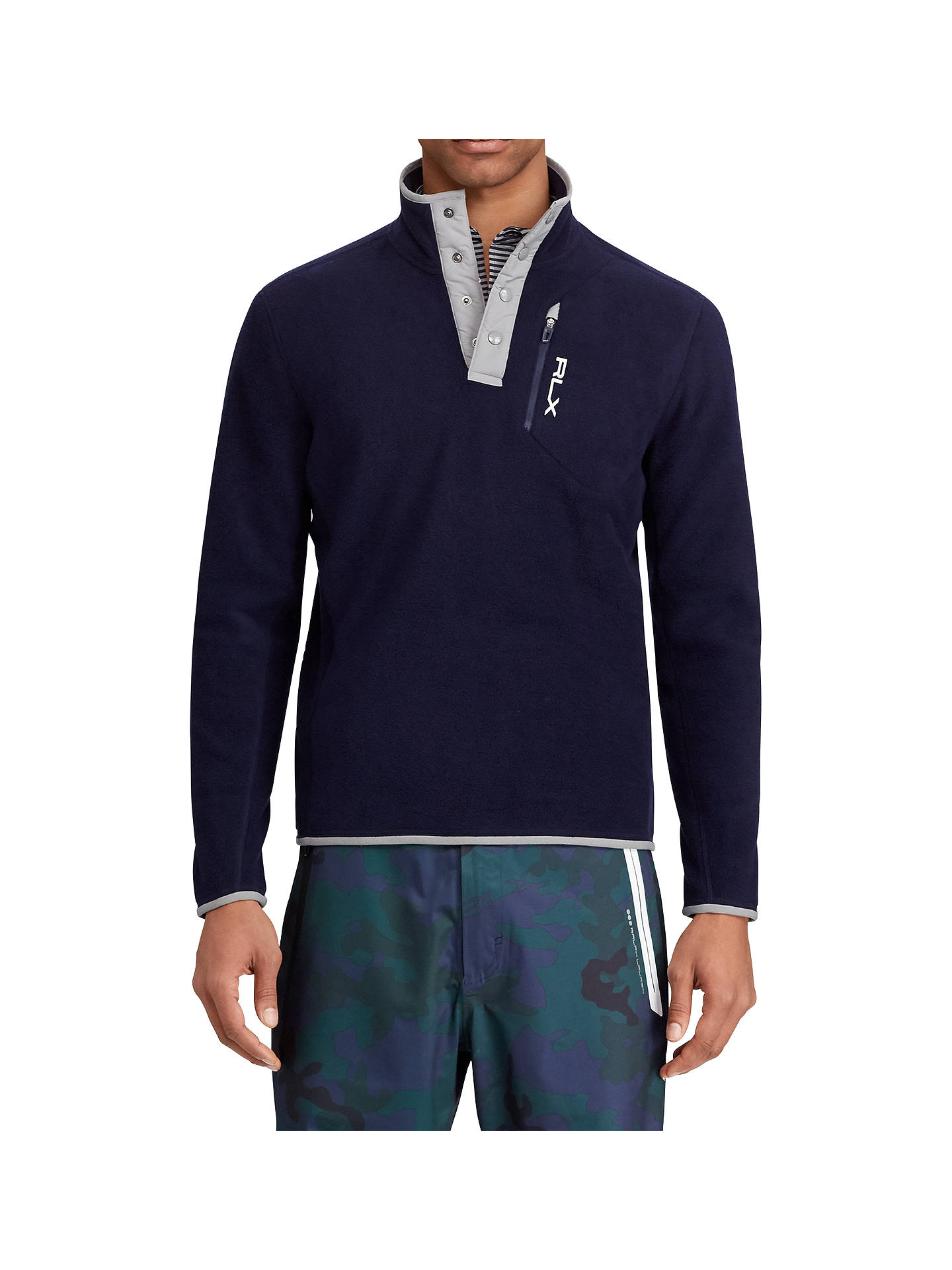 Buy Polo Golf by Ralph Lauren Fleece Jersey Top, French Navy, XXL Online at johnlewis.com
