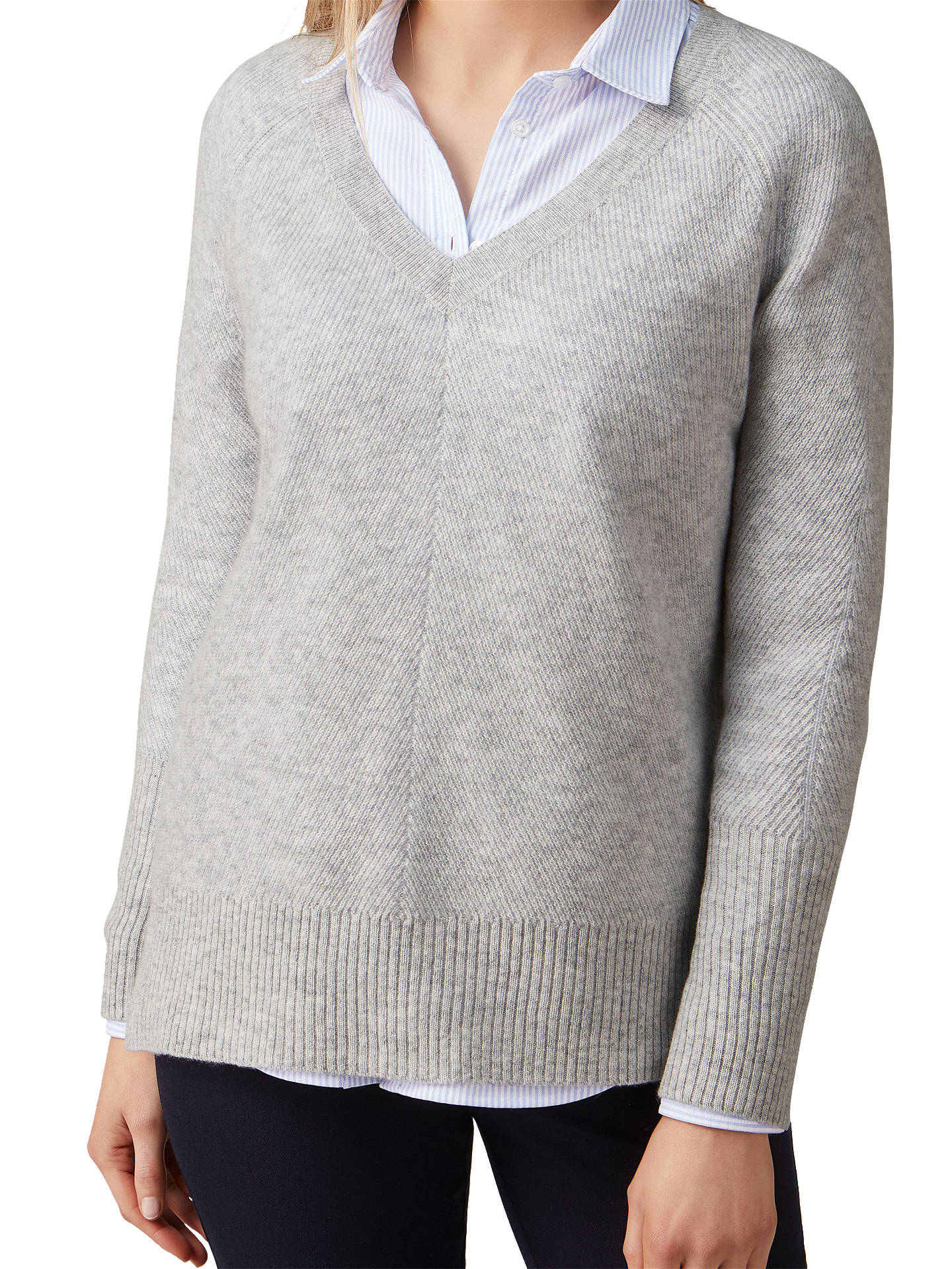 BuyPure Collection Gassato Cashmere Lofty Textured V-Neck Jumper, Heather Dove, 14 Online at johnlewis.com