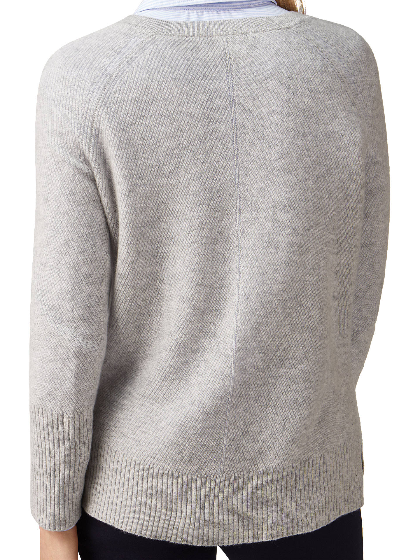 Buy Pure Collection Gassato Cashmere Lofty Textured V-Neck Jumper, Heather Dove, 8 Online at johnlewis.com