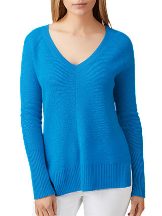 Buy Pure Collection Gassato Cashmere Lofty Textured Jumper, Peacock Blue, 8 Online at johnlewis.com