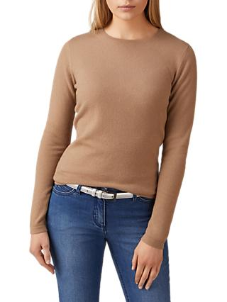 Pure Collection Crew Neck Cashmere Jumper, Soft Walnut