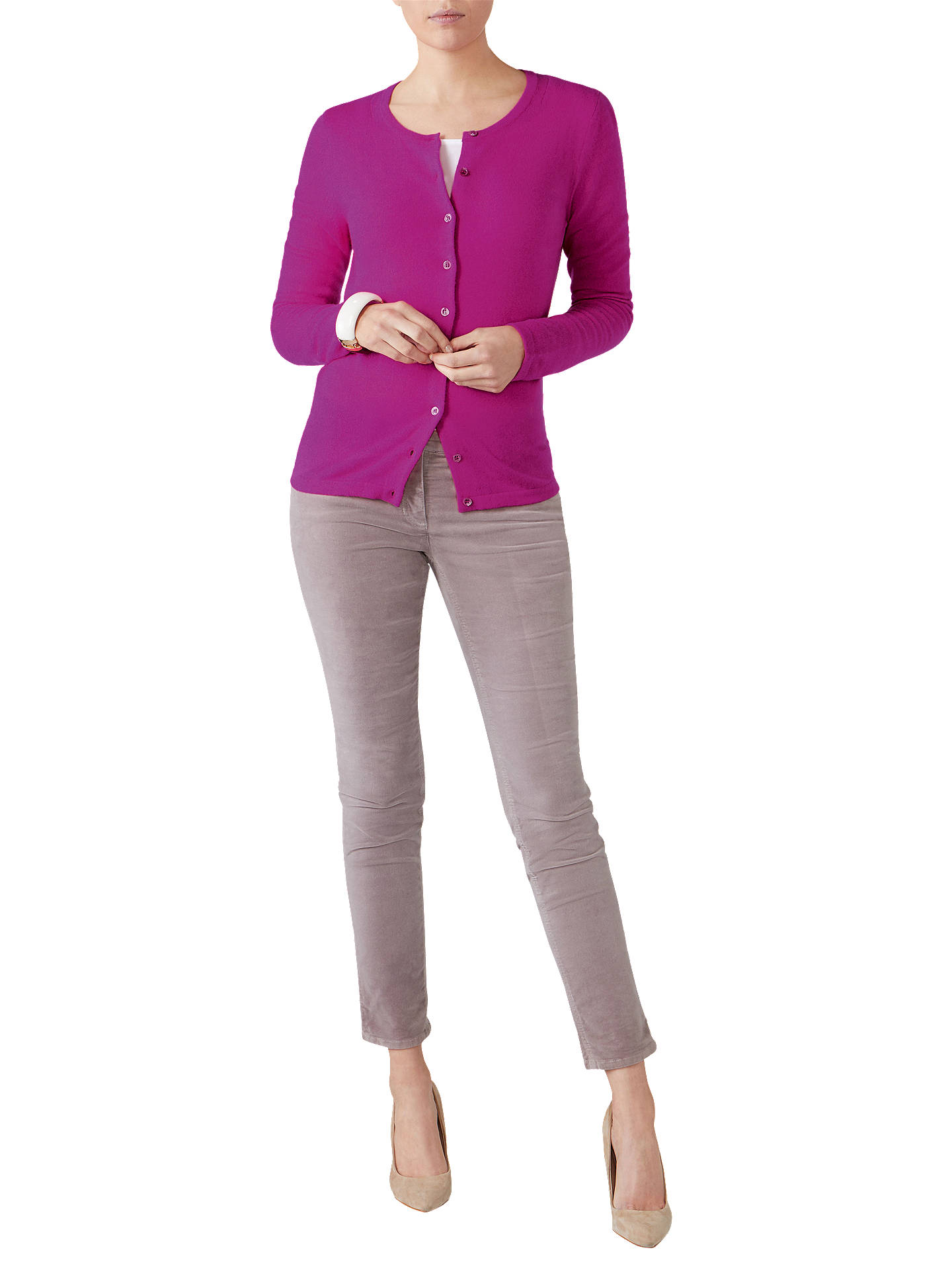 Buy Pure Collection Crew Neck Cashmere Cardigan, Vivid Magenta, 8 Online at johnlewis.com