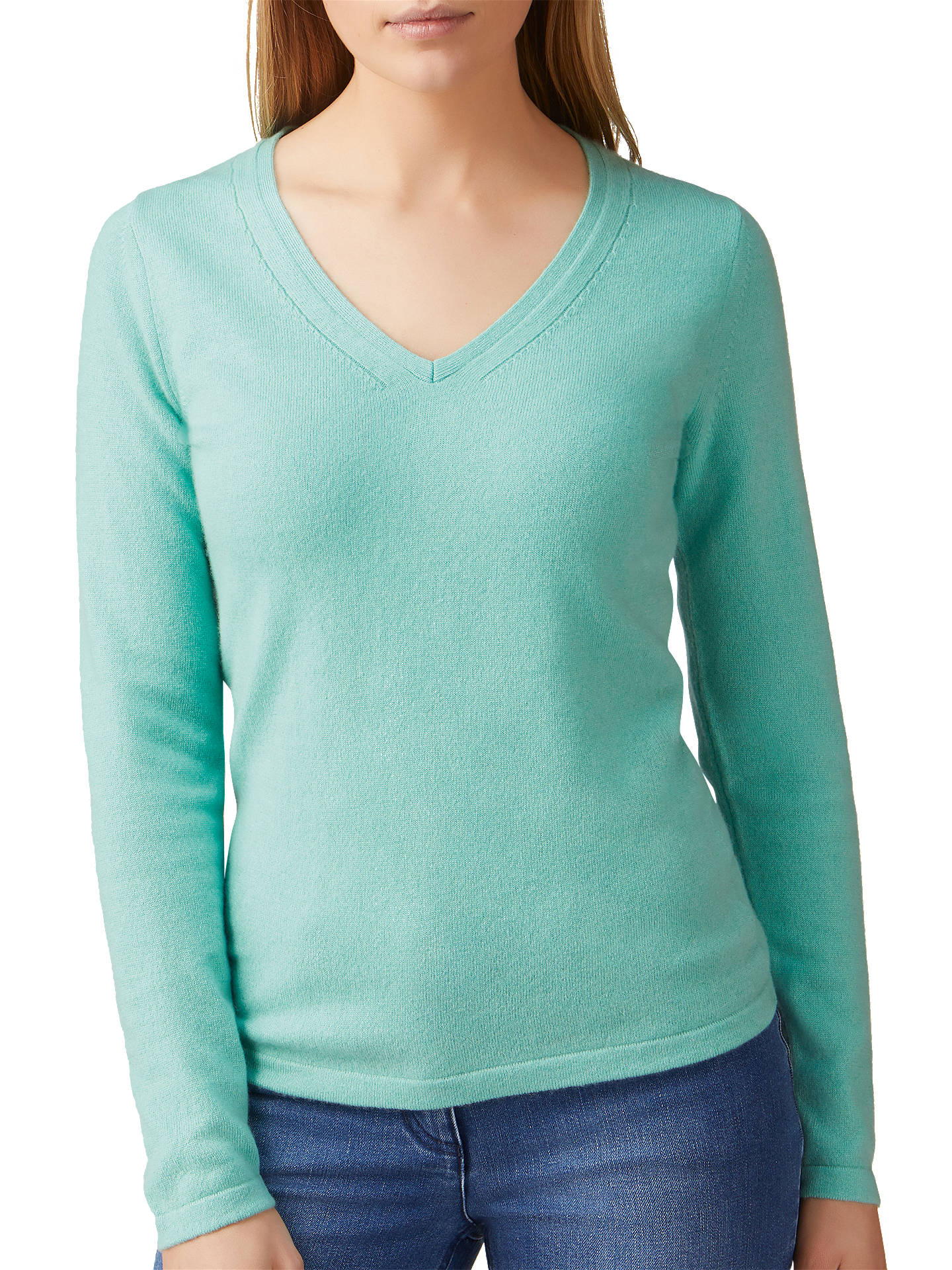 BuyPure Collection V-Neck Cashmere Sweater, Sage, 8 Online at johnlewis.com