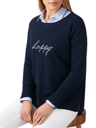 Buy Pure Collection Happy Motif Jumper, Navy, 8 Online at johnlewis.com