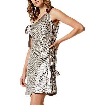 Karen Millen Eyelet Sequin Dress, Silver