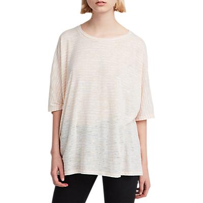 AllSaints Hatton Stripe T-Shirt, Optic/Pink