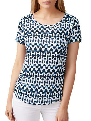 Buy Pure Collection Printed Luxury Linen Jersey T-Shirt, Indigo, 8 Online at johnlewis.com
