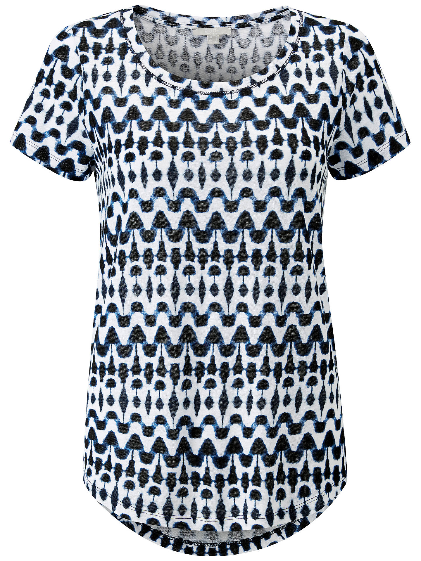 BuyPure Collection Printed Luxury Linen Jersey T-Shirt, Indigo, 8 Online at johnlewis.com
