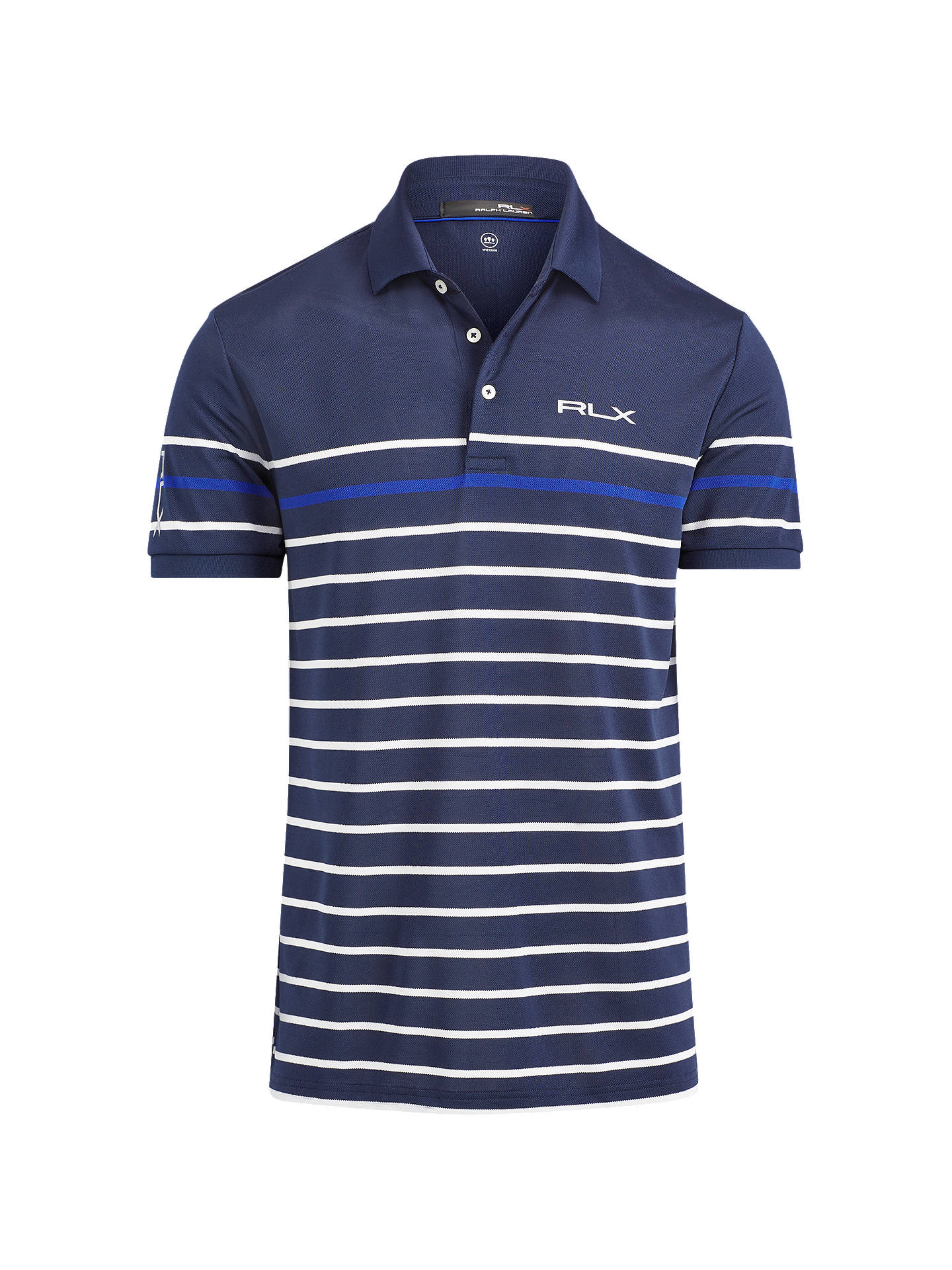 Buy Polo Golf by Ralph Lauren Tech Pique Polo Shirt, Navy/White/Royal, S Online at johnlewis.com