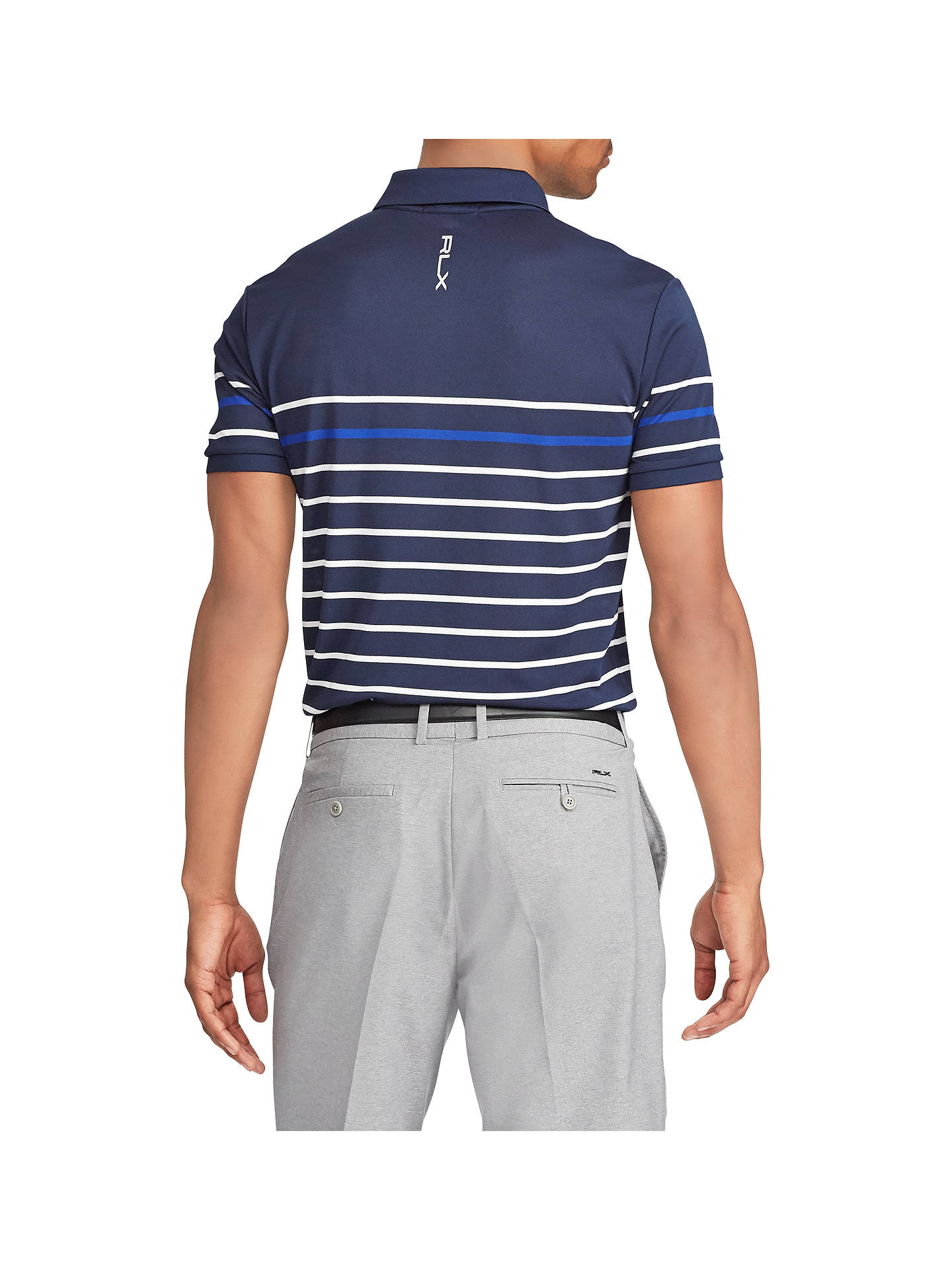 Buy Polo Golf by Ralph Lauren Tech Pique Polo Shirt, Navy/White/Royal, XL Online at johnlewis.com