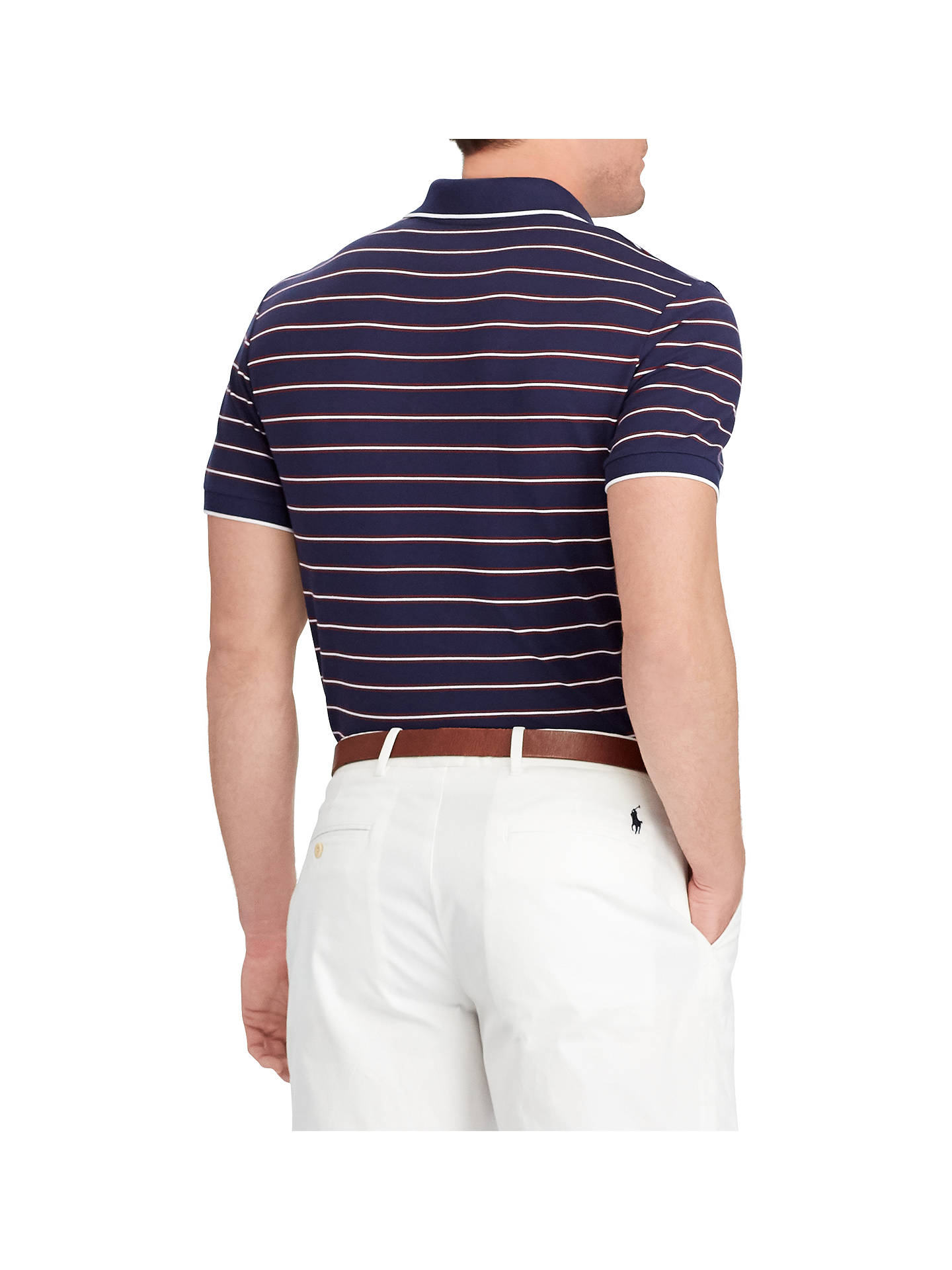 BuyPolo Golf by Ralph Lauren Short Sleeve Pique Polo Shirt, Navy/Wine/White, S Online at johnlewis.com