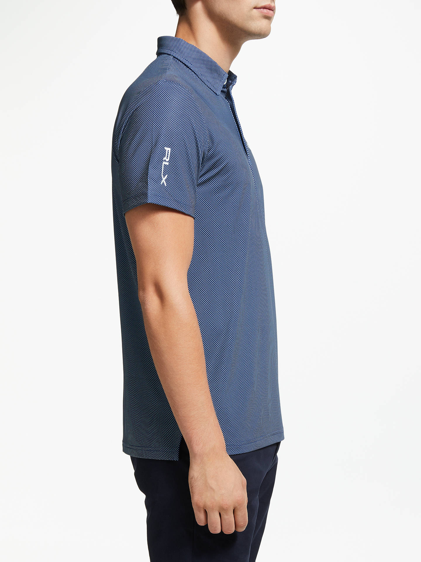 Buy Polo Golf by Ralph Lauren Short Sleeve Lightweight Airflow Polo Shirt, Desert Dot Navy, M Online at johnlewis.com