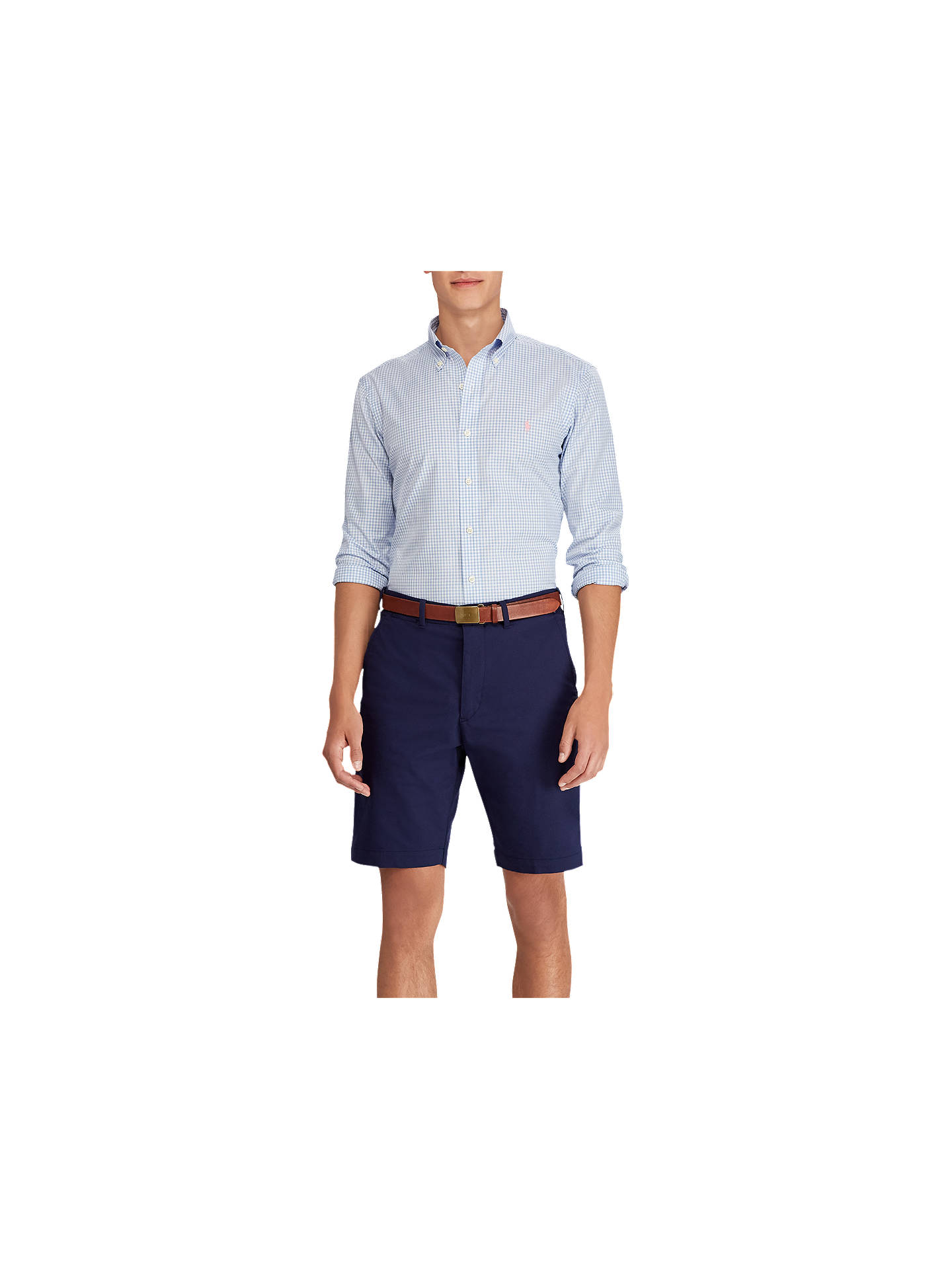 Buy Polo Golf by Ralph Lauren Heather Gingham Dobby Shirt, Cobalt Blue/White, XL Online at johnlewis.com