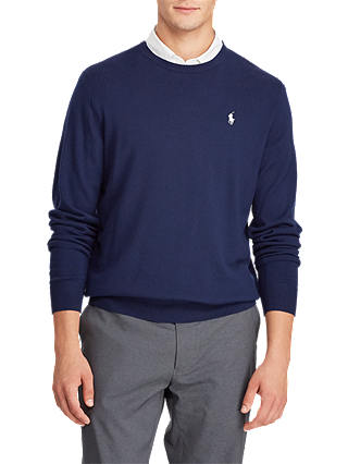 Buy Polo Golf by Ralph Lauren Long Sleeve Crew Neck Jumper, French Navy, M Online at johnlewis.com