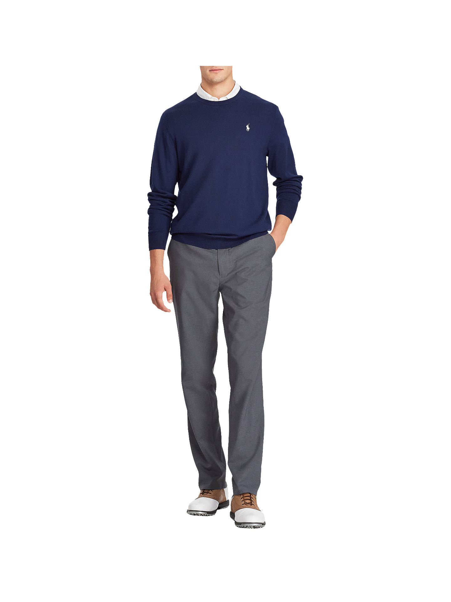 BuyPolo Golf by Ralph Lauren Long Sleeve Crew Neck Jumper, French Navy, M Online at johnlewis.com