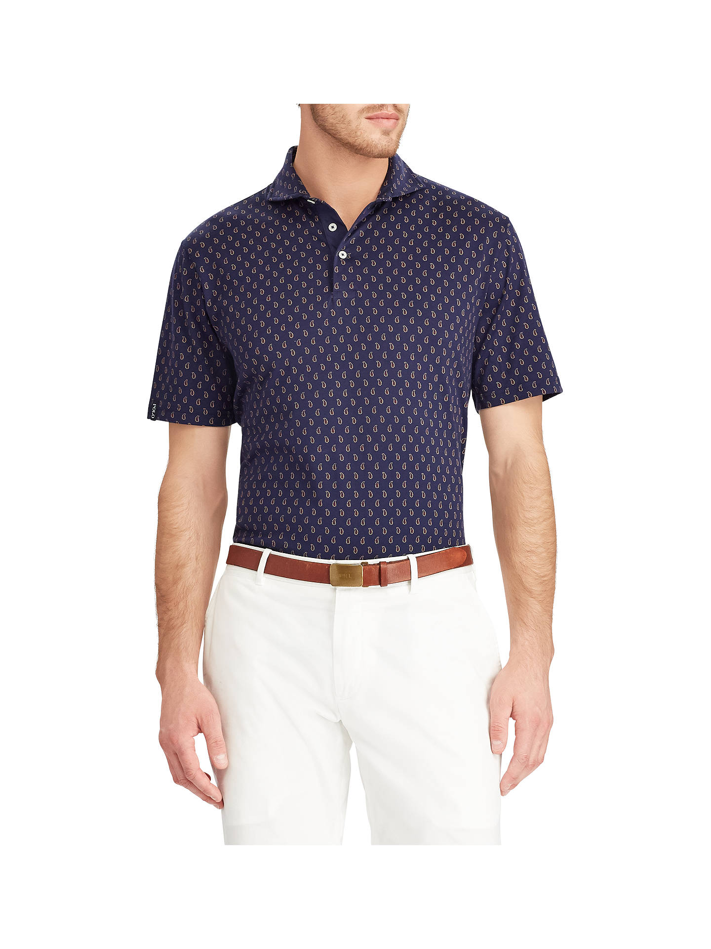 BuyPolo Golf by Ralph Lauren Lux Short Sleeve Jersey Polo Shirt, Estate Paisley, S Online at johnlewis.com