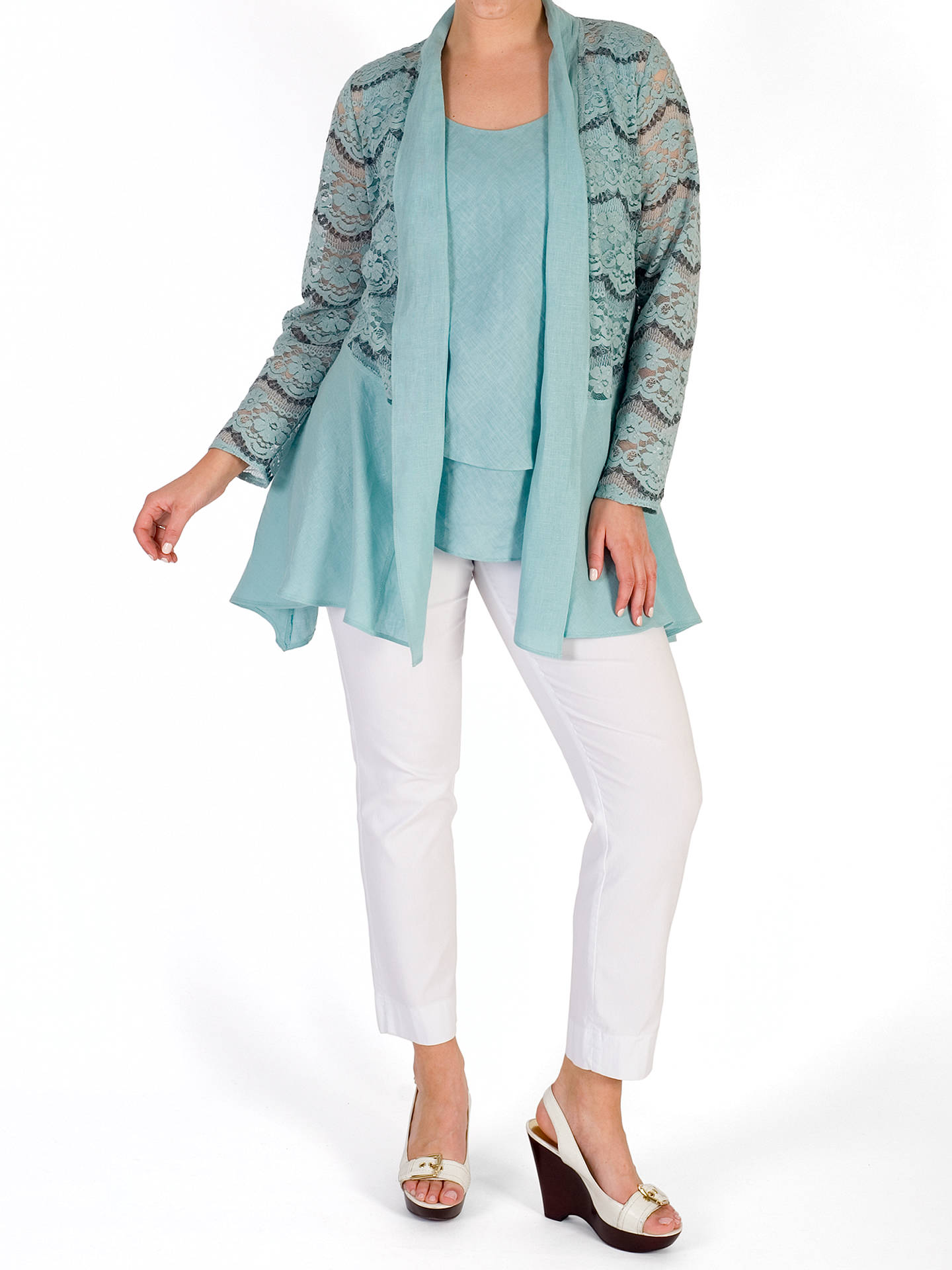 BuyChesca Linen Trim Jacket, Aqua, 12 Online at johnlewis.com