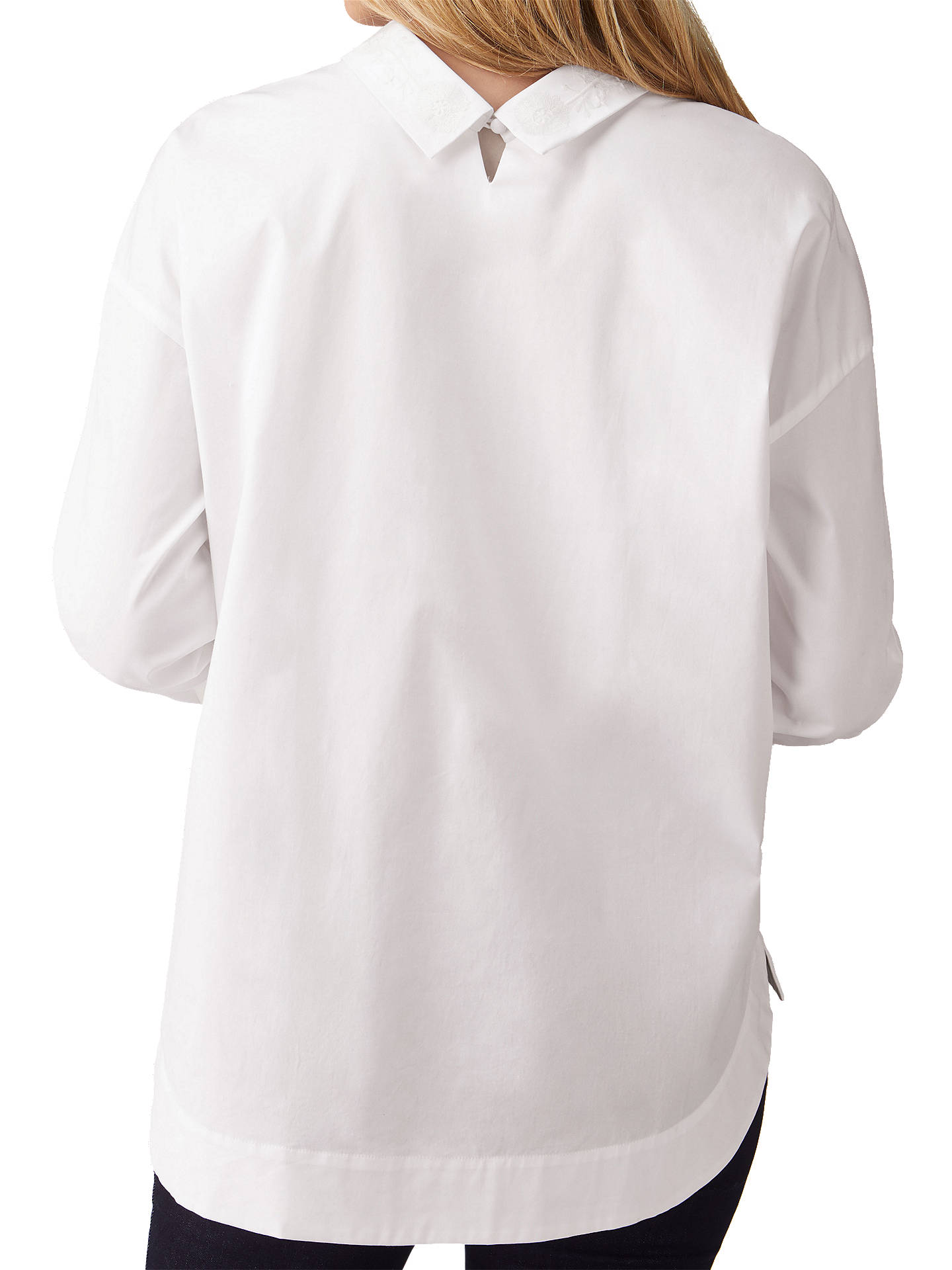 BuyPure Collection Cotton Embellished Shirt, White, 8 Online at johnlewis.com