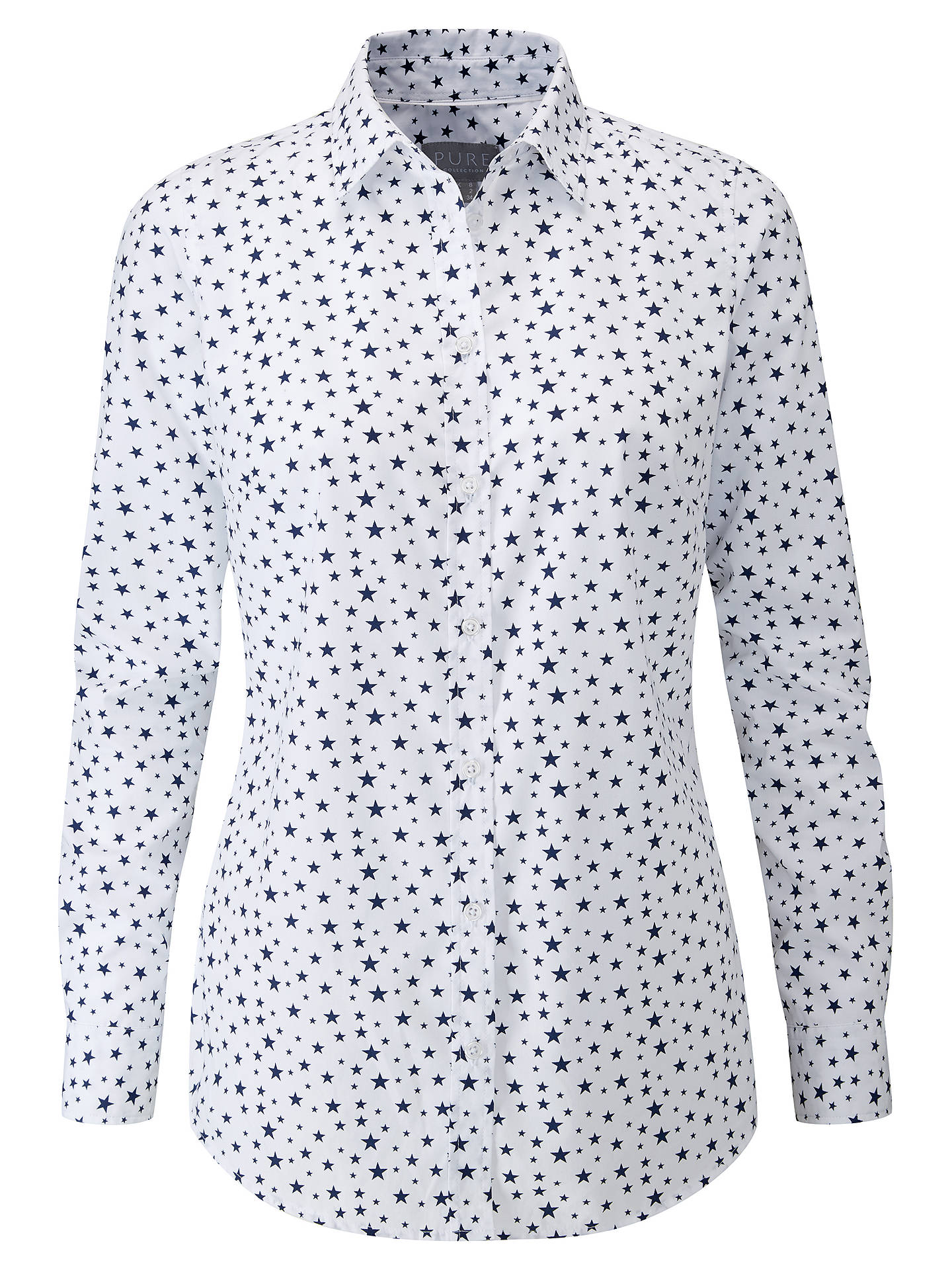 Buy Pure Collection Star Print Cotton Shirt, White/Blue, 8 Online at johnlewis.com