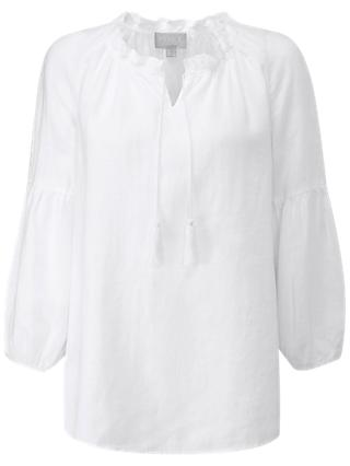 Pure Collection Laundered Linen Tassel Blouse