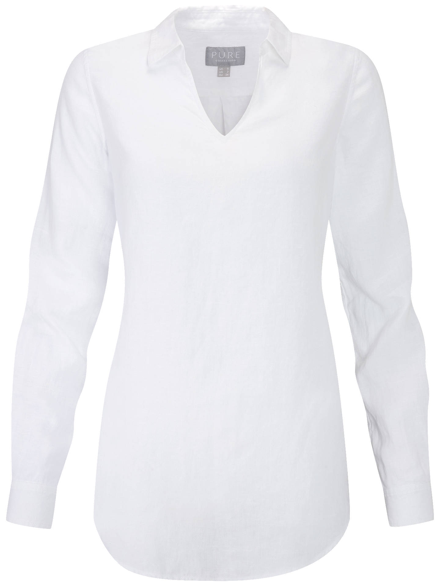 Buy Pure Collection Laundered Linen Long Shirt, White, 18 Online at johnlewis.com