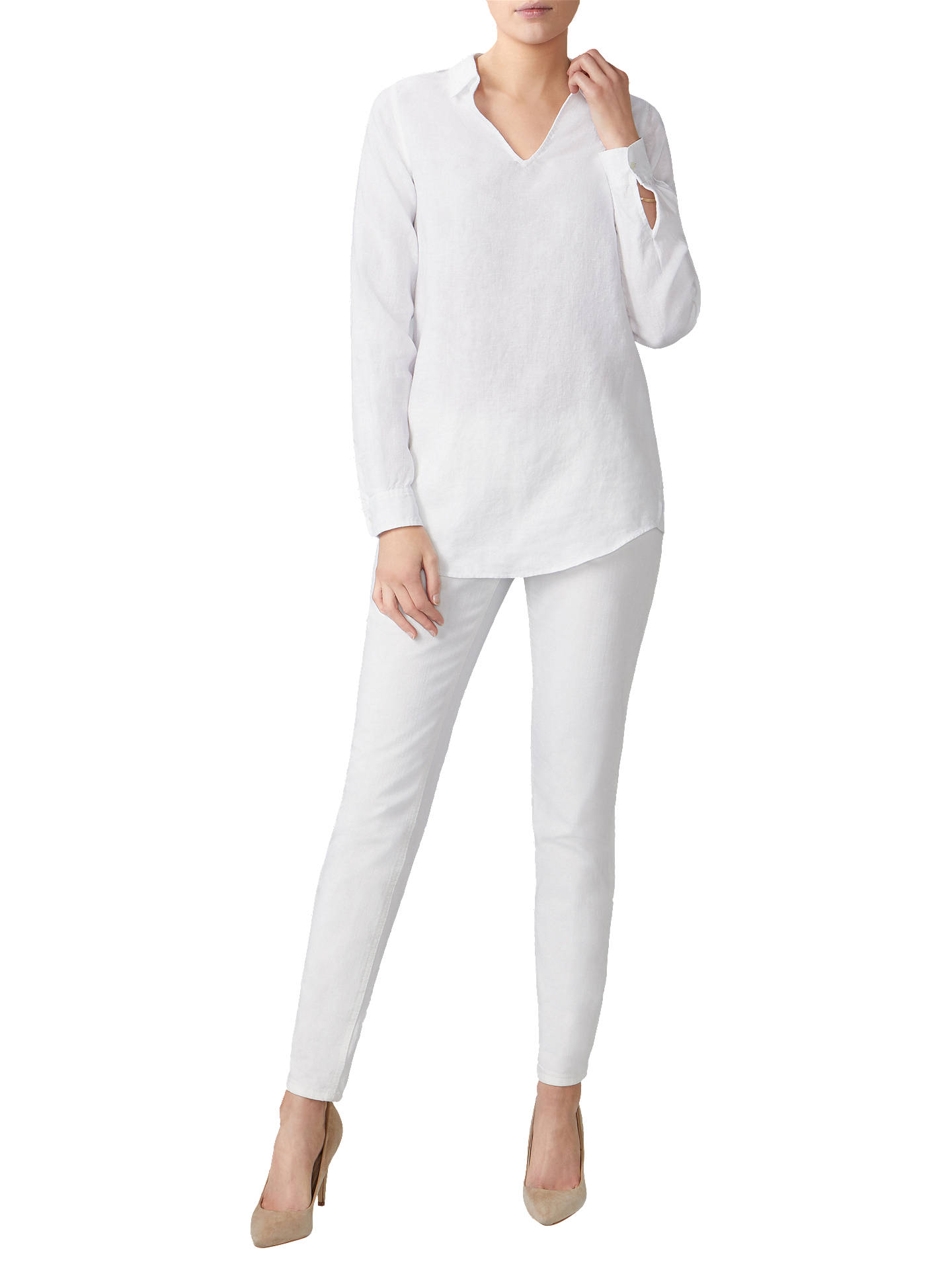 Buy Pure Collection Laundered Linen Long Shirt, White, 8 Online at johnlewis.com