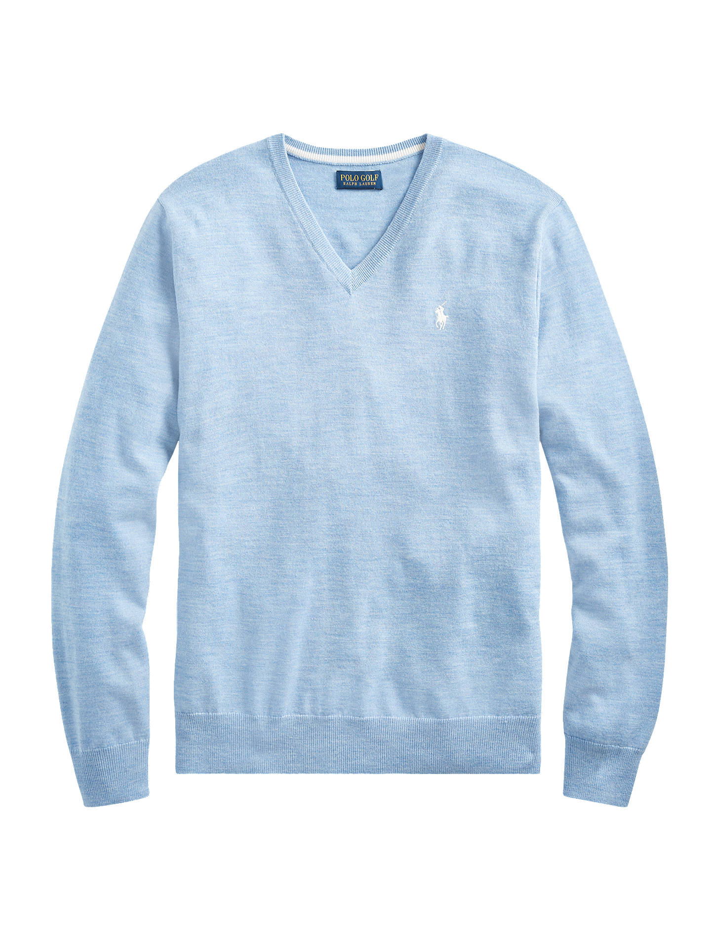 BuyPolo Golf Wool V-Neck Knit Jumper, Cobalt Heather, L Online at johnlewis.com