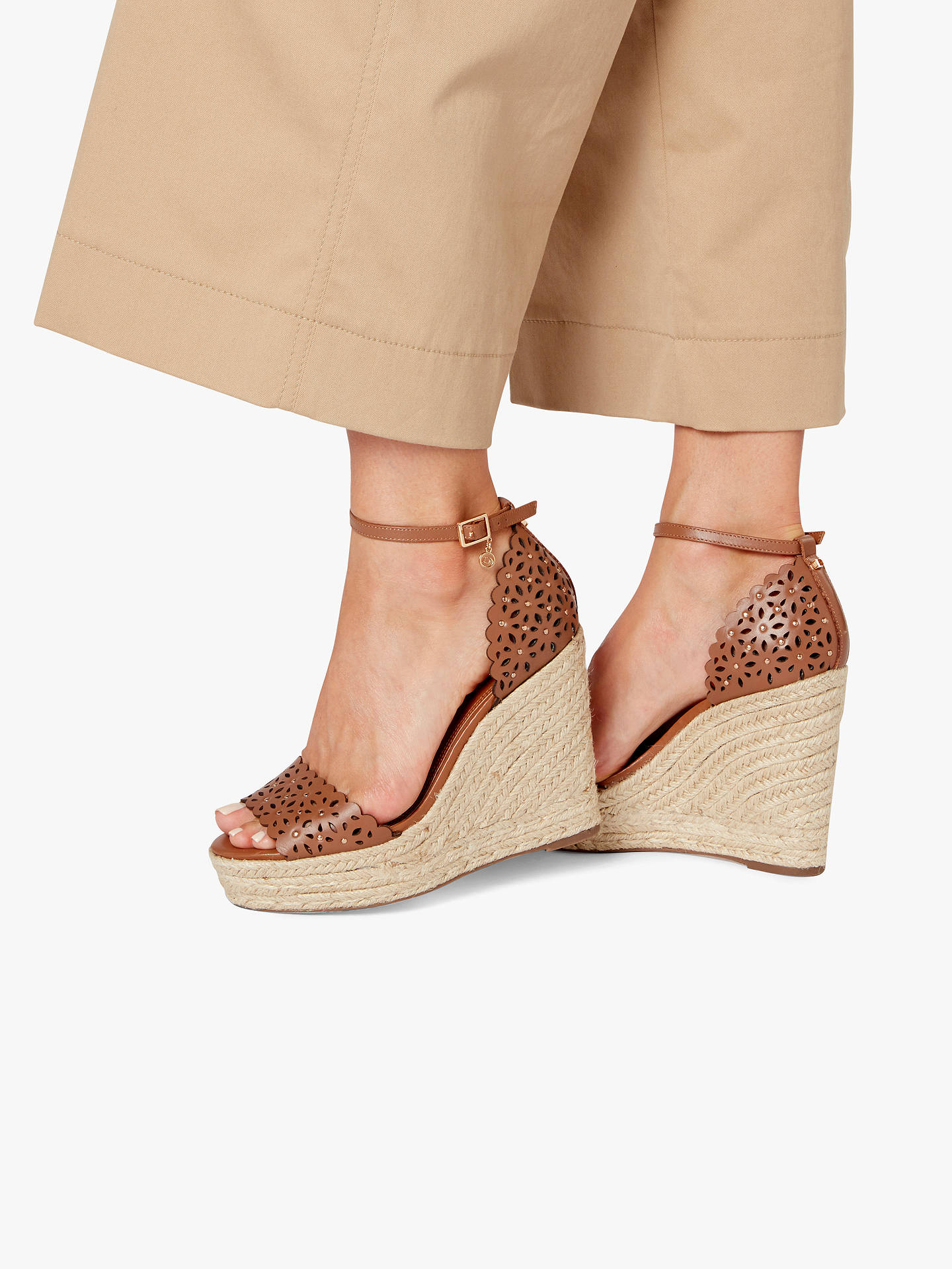 BuyDune Kamilea Cut-Out Stud Wedged High Heel Sandals, Tan Leather, 3 Online at johnlewis.com