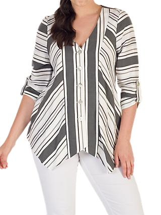 Chesca Diagonal Striped Jacket, White/Black