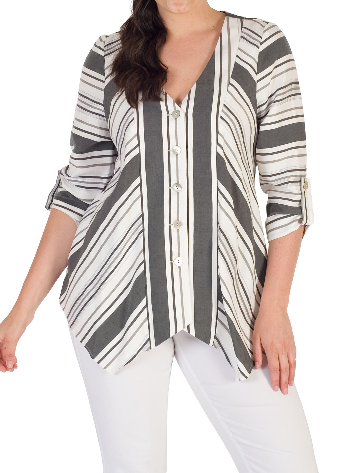Chesca Chesca Diagonal Striped Jacket, White/Black