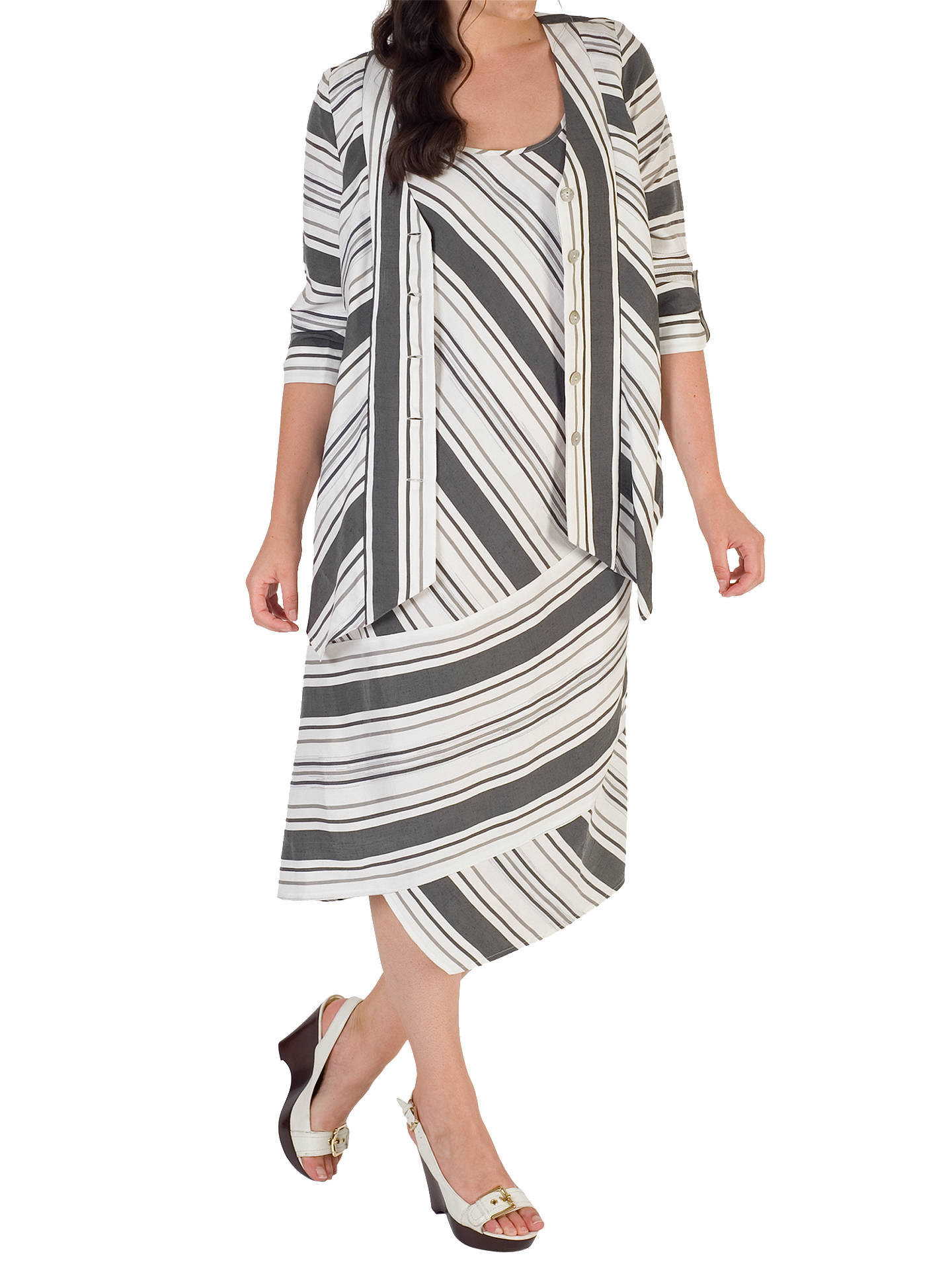 BuyChesca Diagonal Striped Jacket, White/Black, 12-14 Online at johnlewis.com