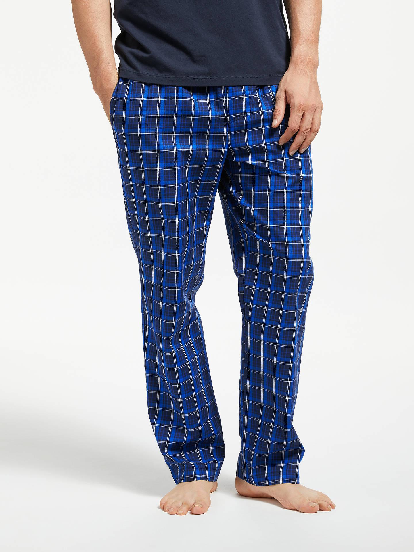 a55ecd53 BOSS Check Twill Lounge Pants, Blue at John Lewis & Partners