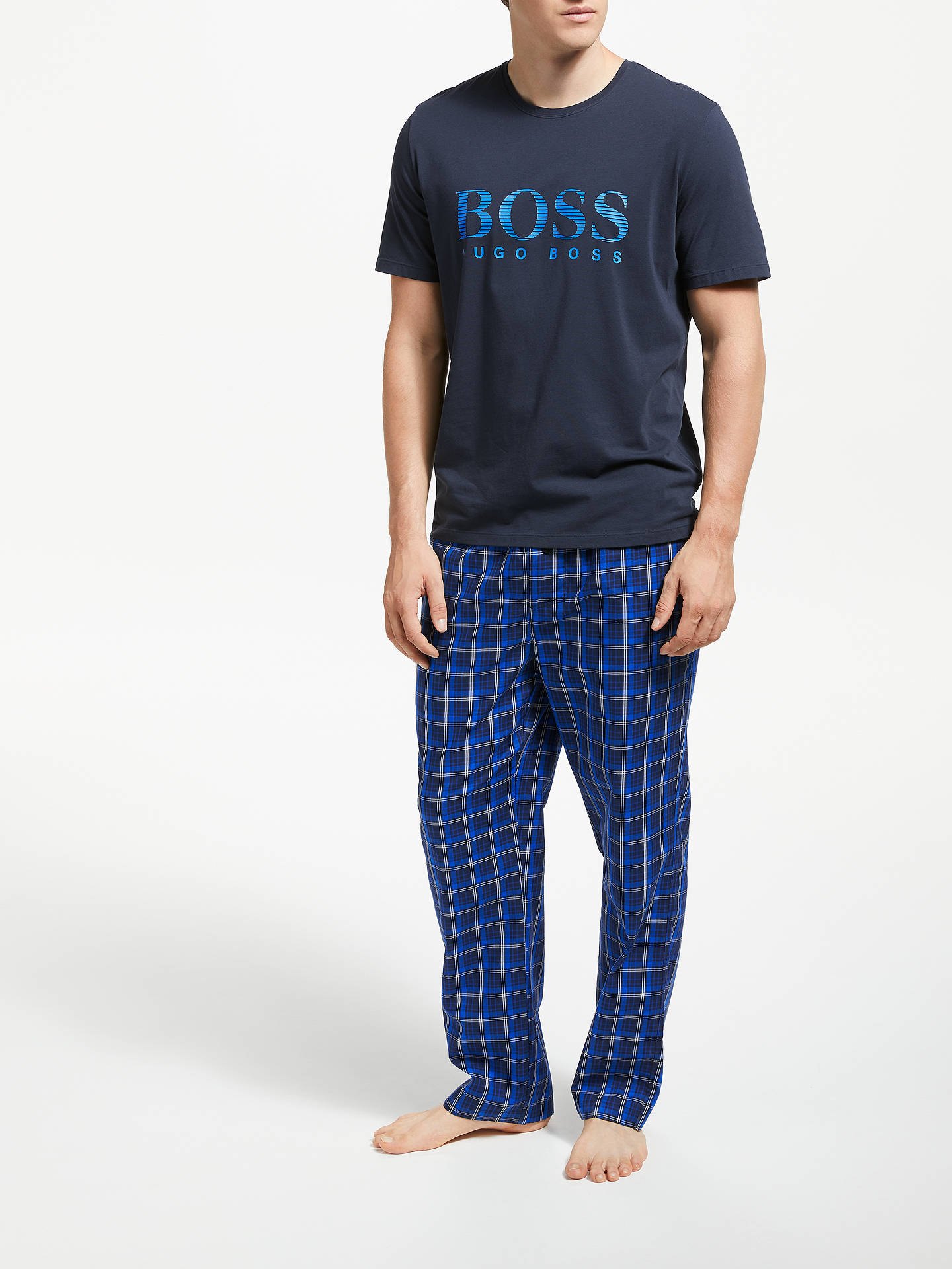 BuyBOSS Check Twill Lounge Pants, Blue, L Online at johnlewis.com