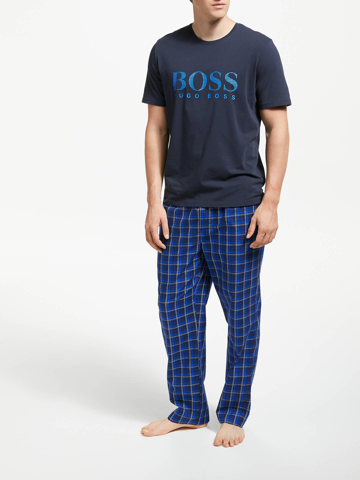 b3c9d60e ... Buy BOSS Check Twill Lounge Pants, Blue, L Online at johnlewis.com ...