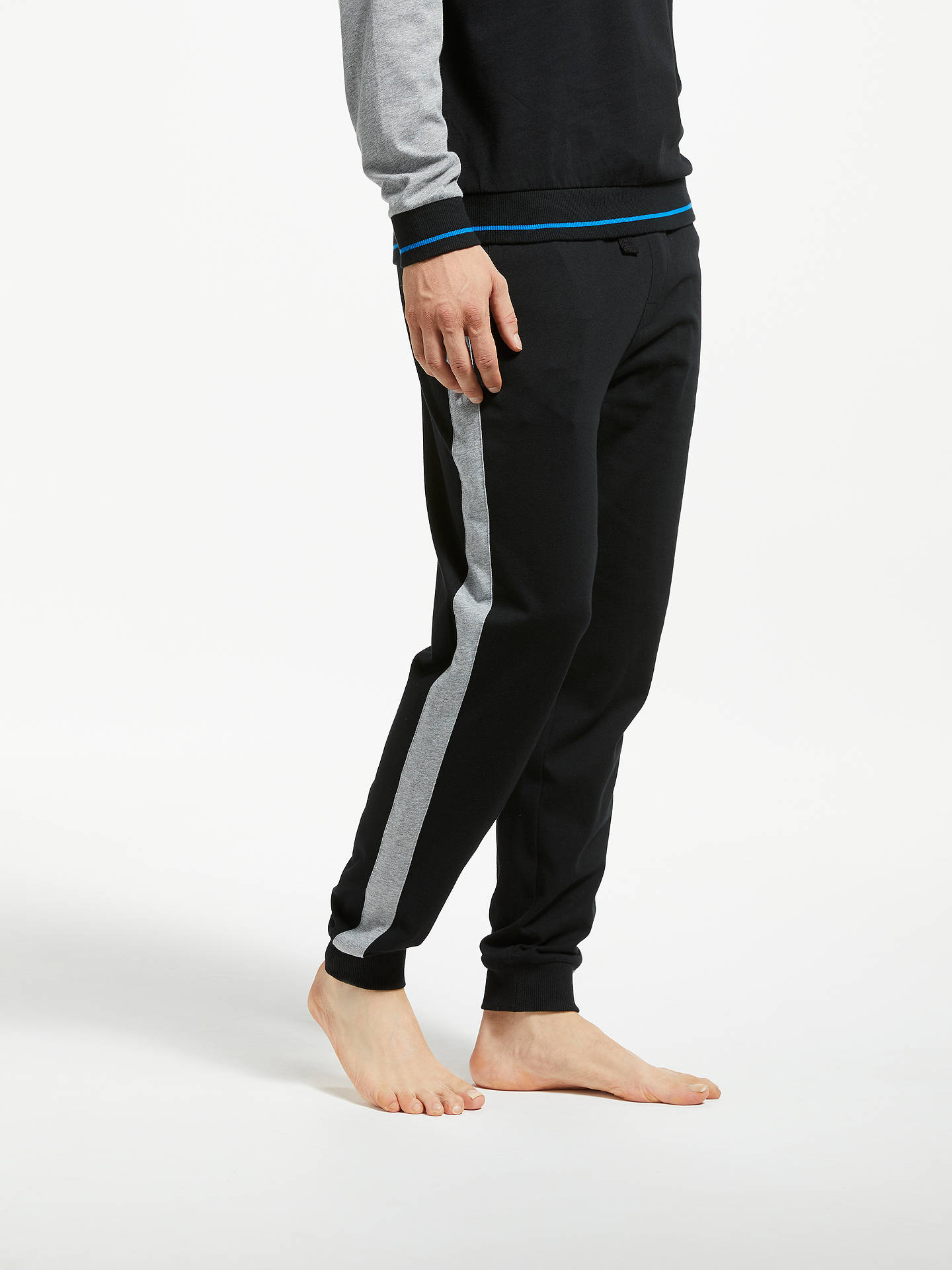 Buy BOSS Authentic Cotton Jersey Joggers, Black, XL Online at johnlewis.com