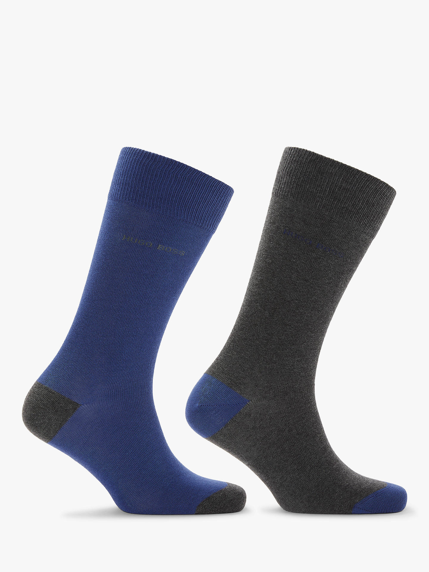 BuyBOSS Heel and Toe Socks, Pack of 2, Blue/Charcoal, M Online at johnlewis.com