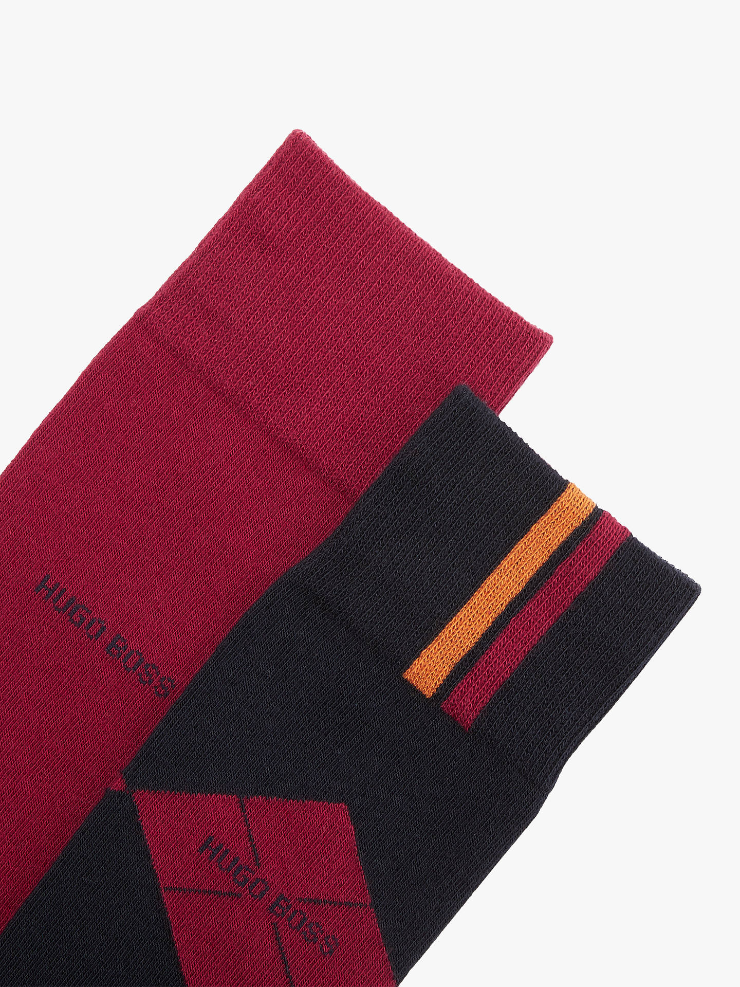 BuyBOSS Plain Diamond Socks, Pack of 2, Red/Black, M Online at johnlewis.com