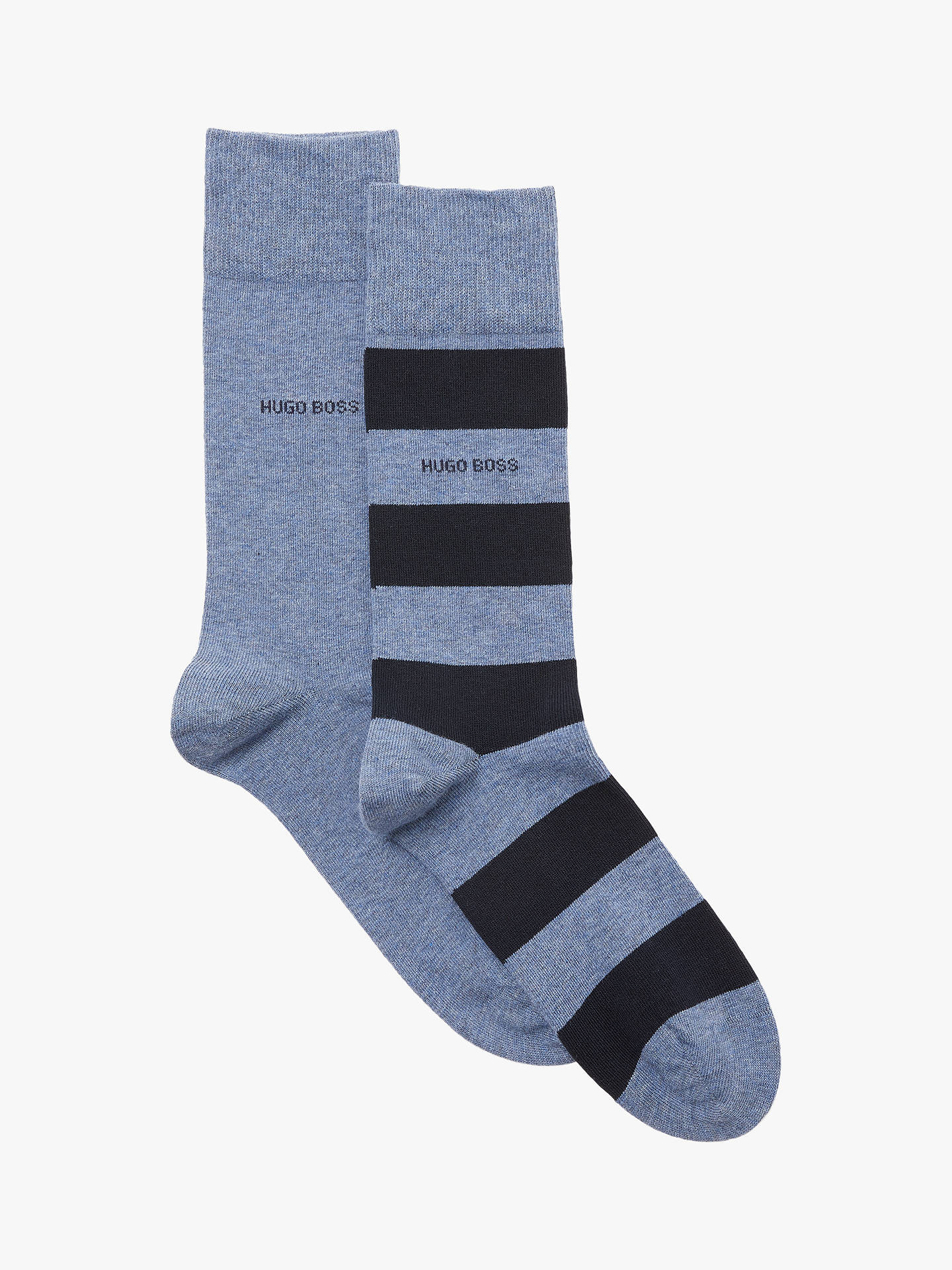 Buy BOSS Denim Stripe Socks, Pack of 2, Blue, M Online at johnlewis.com