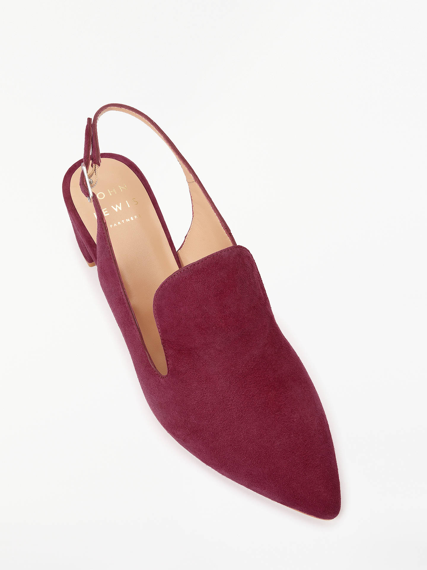 BuyJohn Lewis & Partners Anna Slingback Loafers, Red Suede, 3 Online at johnlewis.com