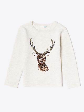 John Lewis & Partners Girls' Reindeer Sequin Jumper, Cream