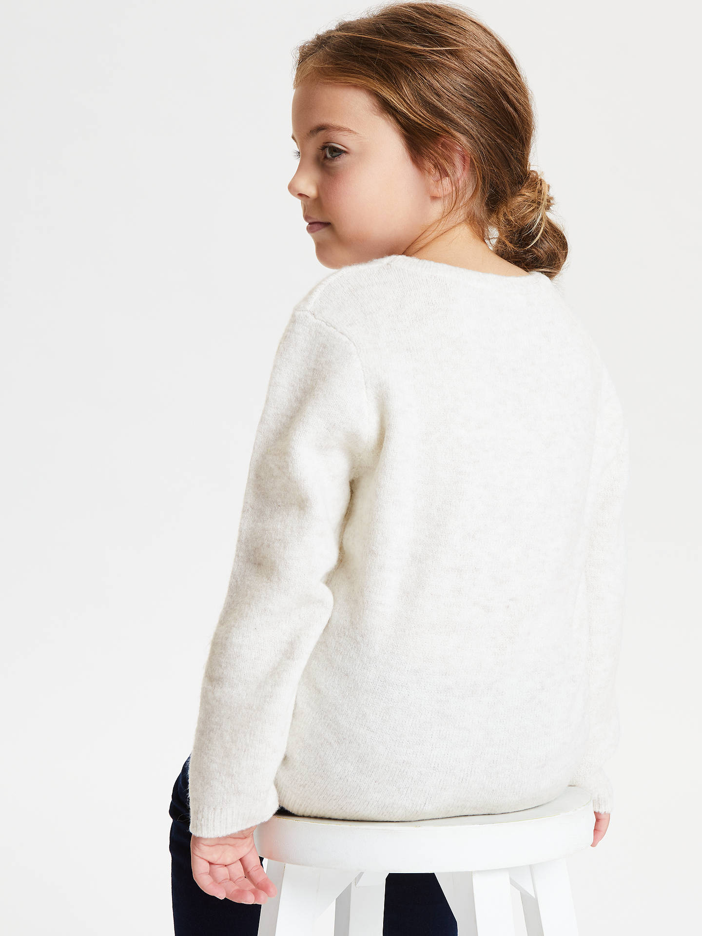 BuyJohn Lewis & Partners Girls' Reindeer Sequin Jumper, Cream, 9 years Online at johnlewis.com