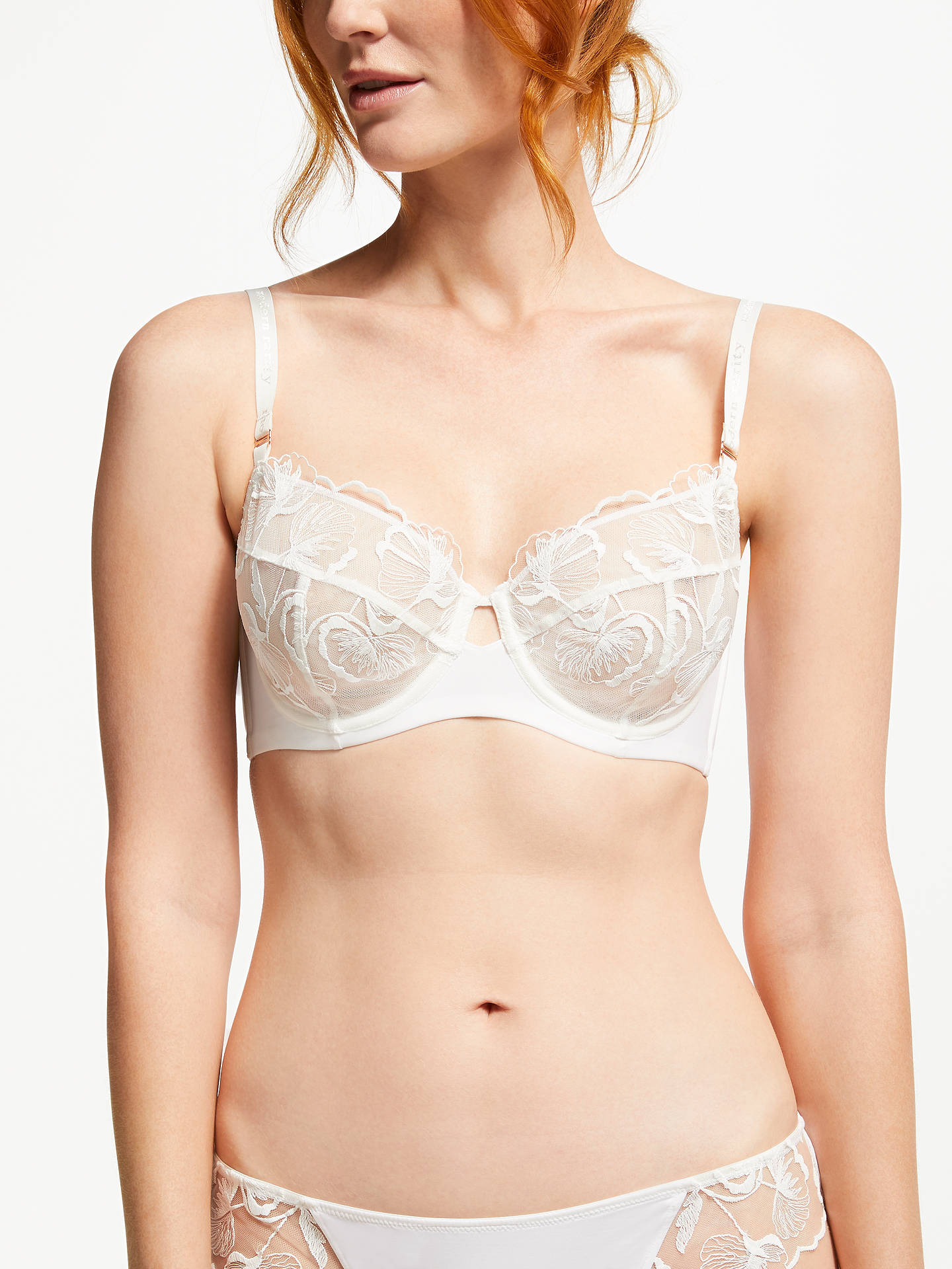 Buy Modern Rarity Viola Embroidered Non Padded Bra, Ivory, 32F Online at johnlewis.com