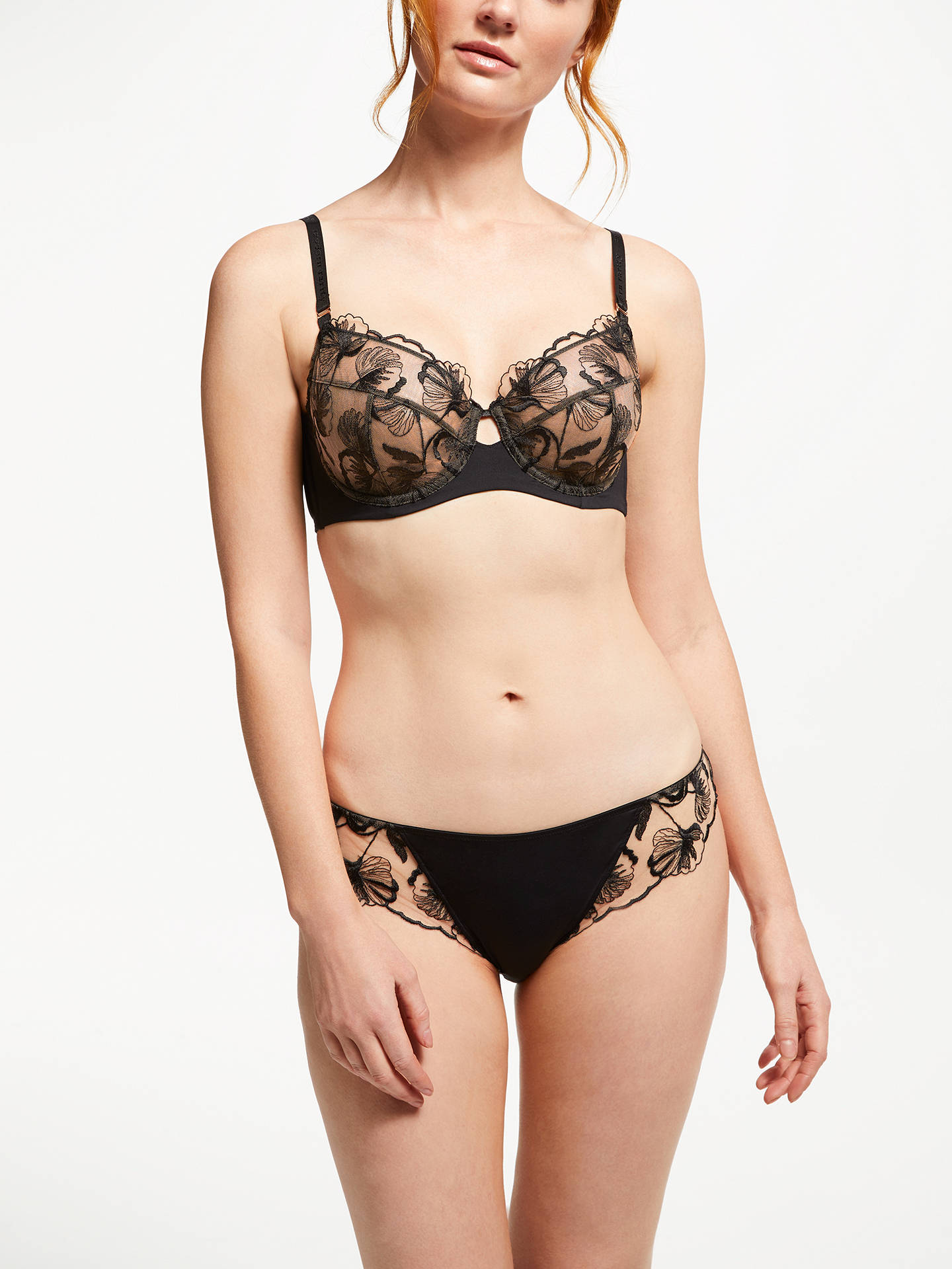 Buy Modern Rarity Viola Embroidered Non Padded Bra, Black, 32E Online at johnlewis.com