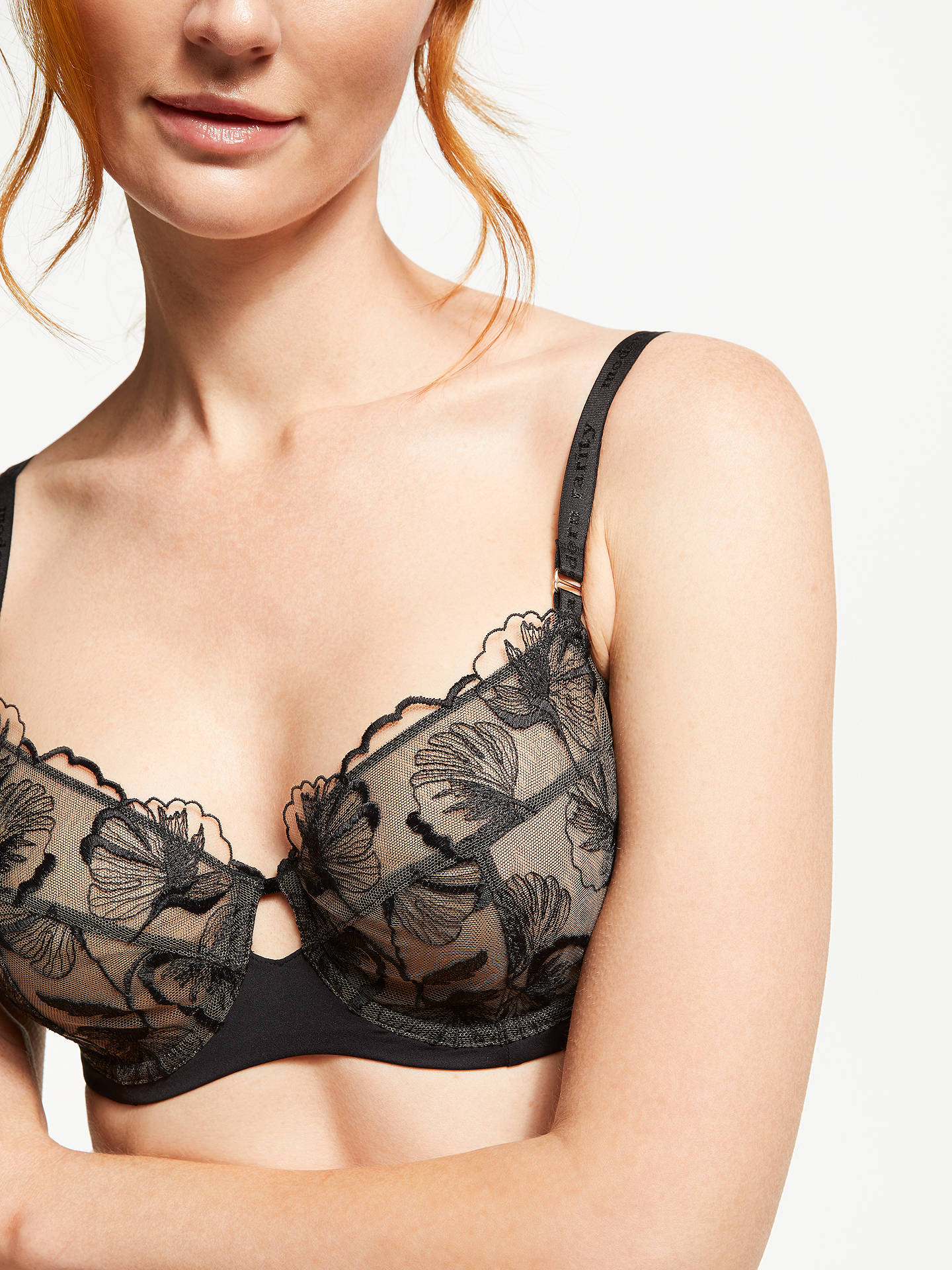 Buy Modern Rarity Viola Embroidered Non Padded Bra, Black, 34C Online at johnlewis.com